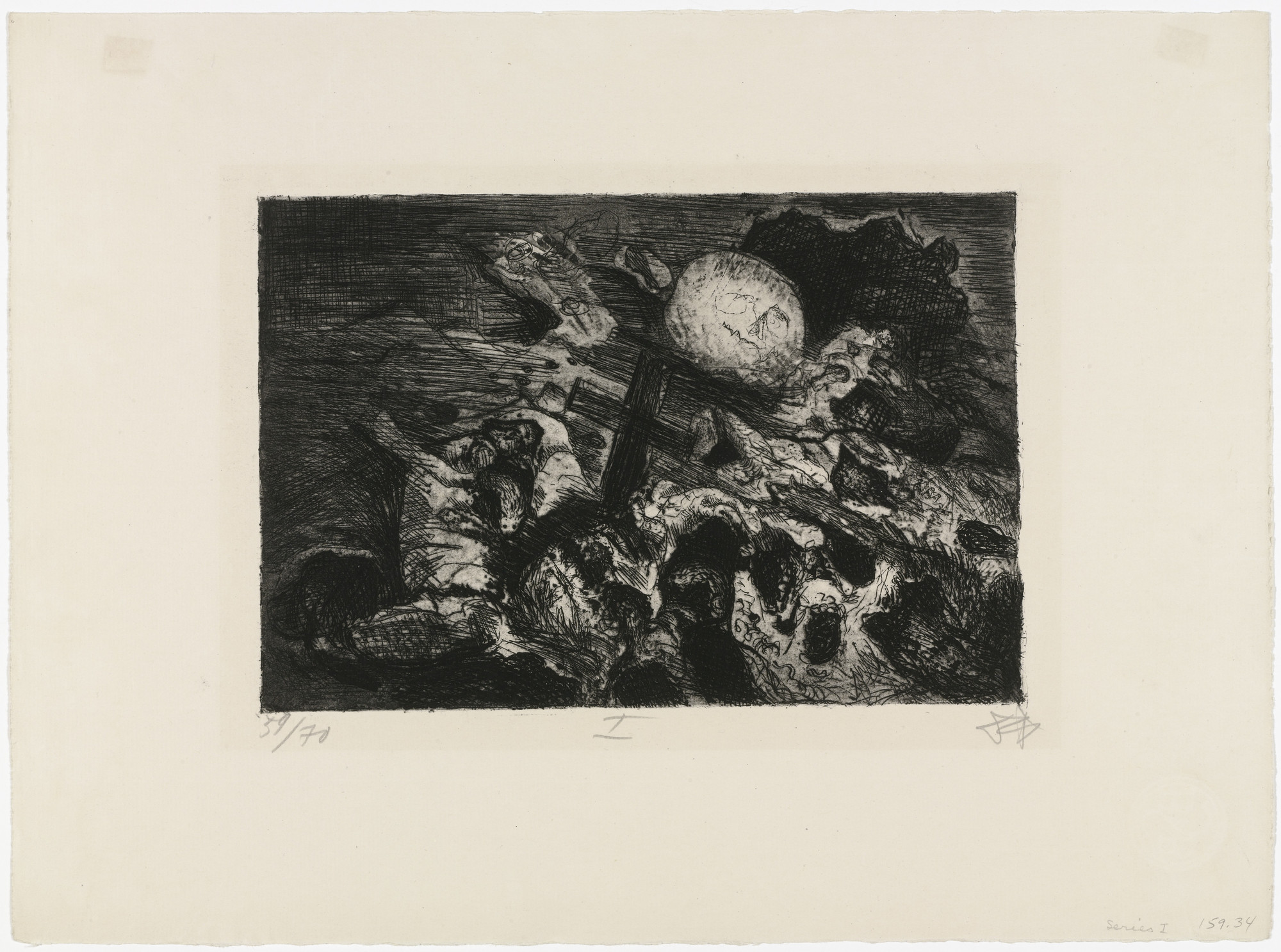 Otto Dix. Soldiers' Grave Between the Lines (Soldatengrab zwischen den Linien) from The War (Der Krieg). (1924)