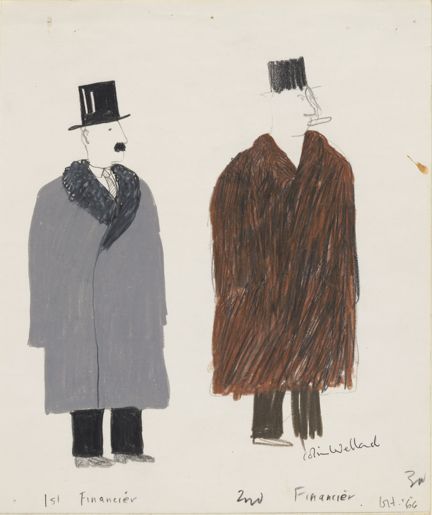 David Hockney. 1st Financier 2nd Financier. Costume designs for the play Ubu Roi. 1966