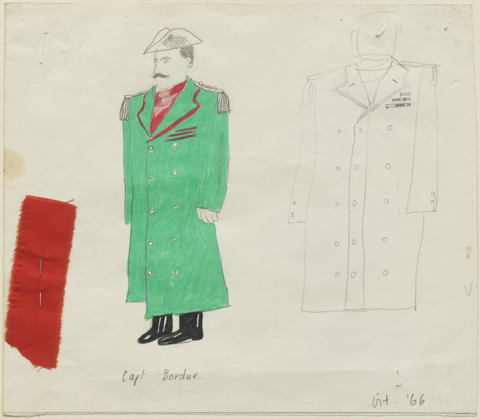 David Hockney. Capt. Bordure. Costume design for the play Ubu Roi. 1966