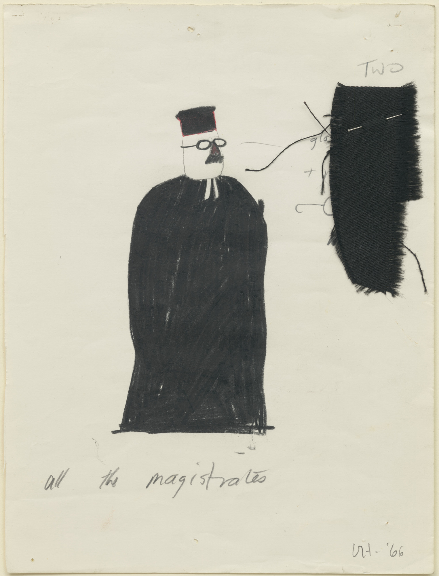 David Hockney. All the Magistrates. Costume design for the play Ubu Roi. 1966
