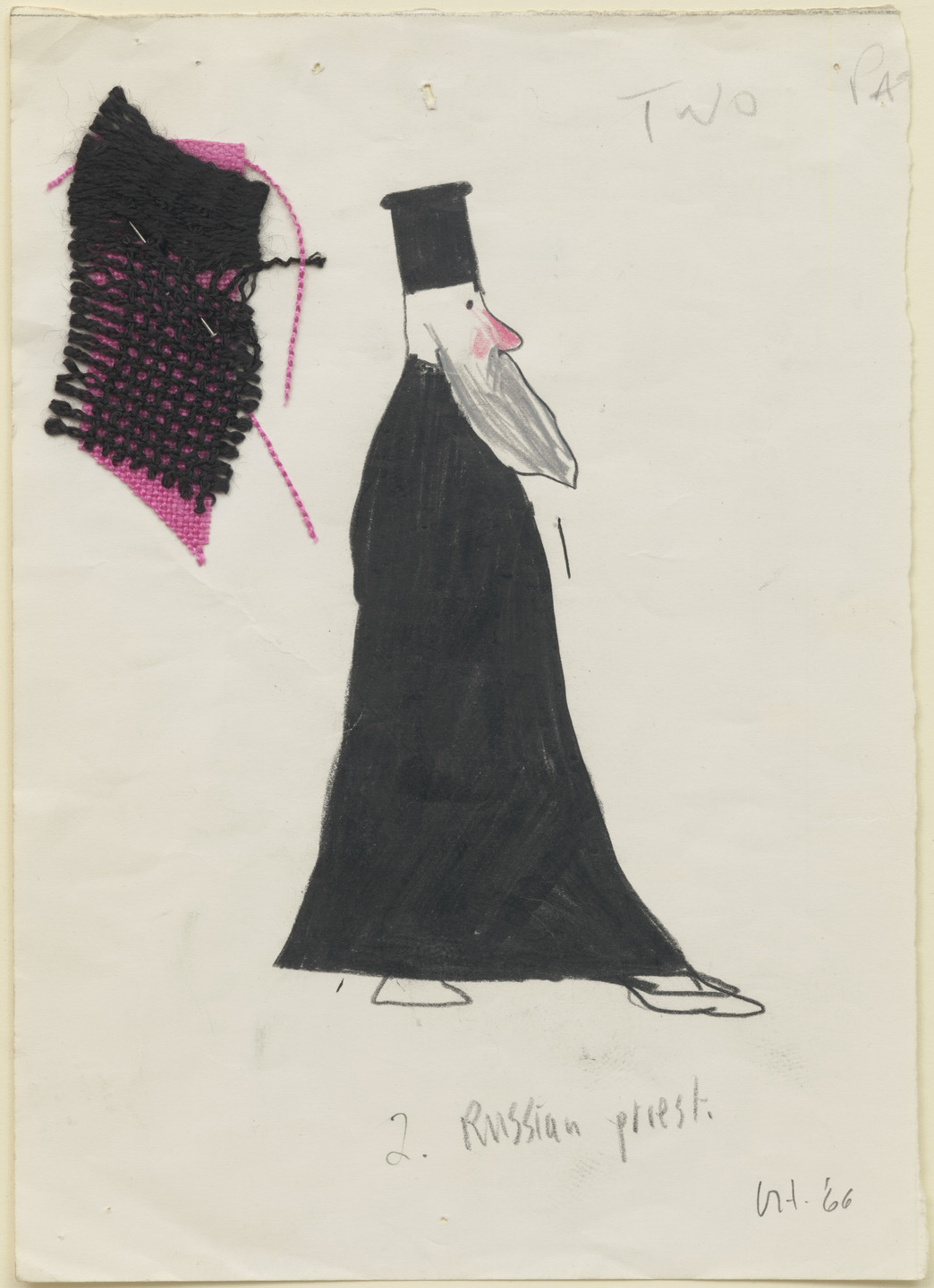 David Hockney. Russian Priest. Costume design for the play Ubu Roi. 1966