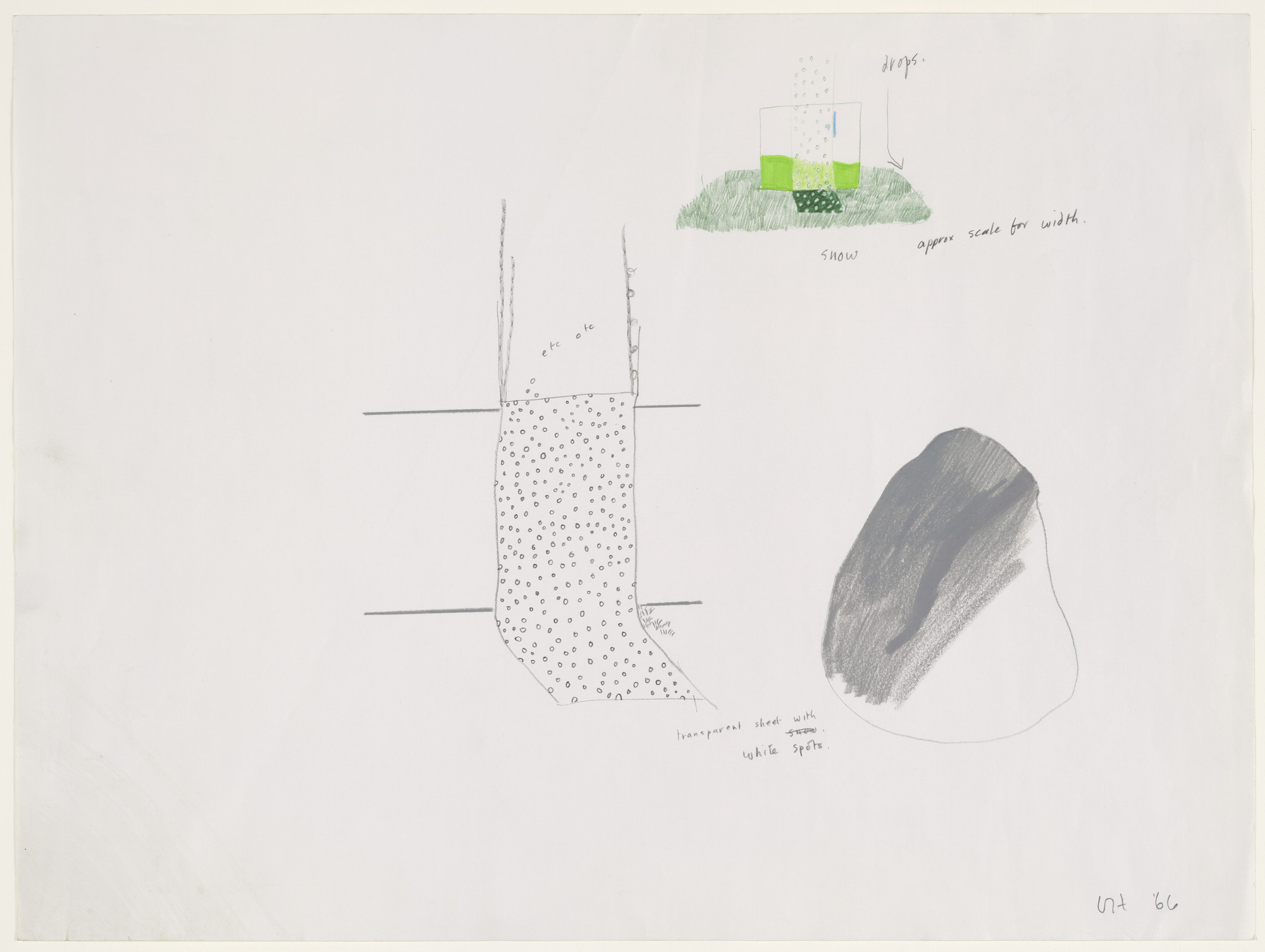 David Hockney. Snowy Landscape and Flat Rock, design for Ubu Roi. (1966)
