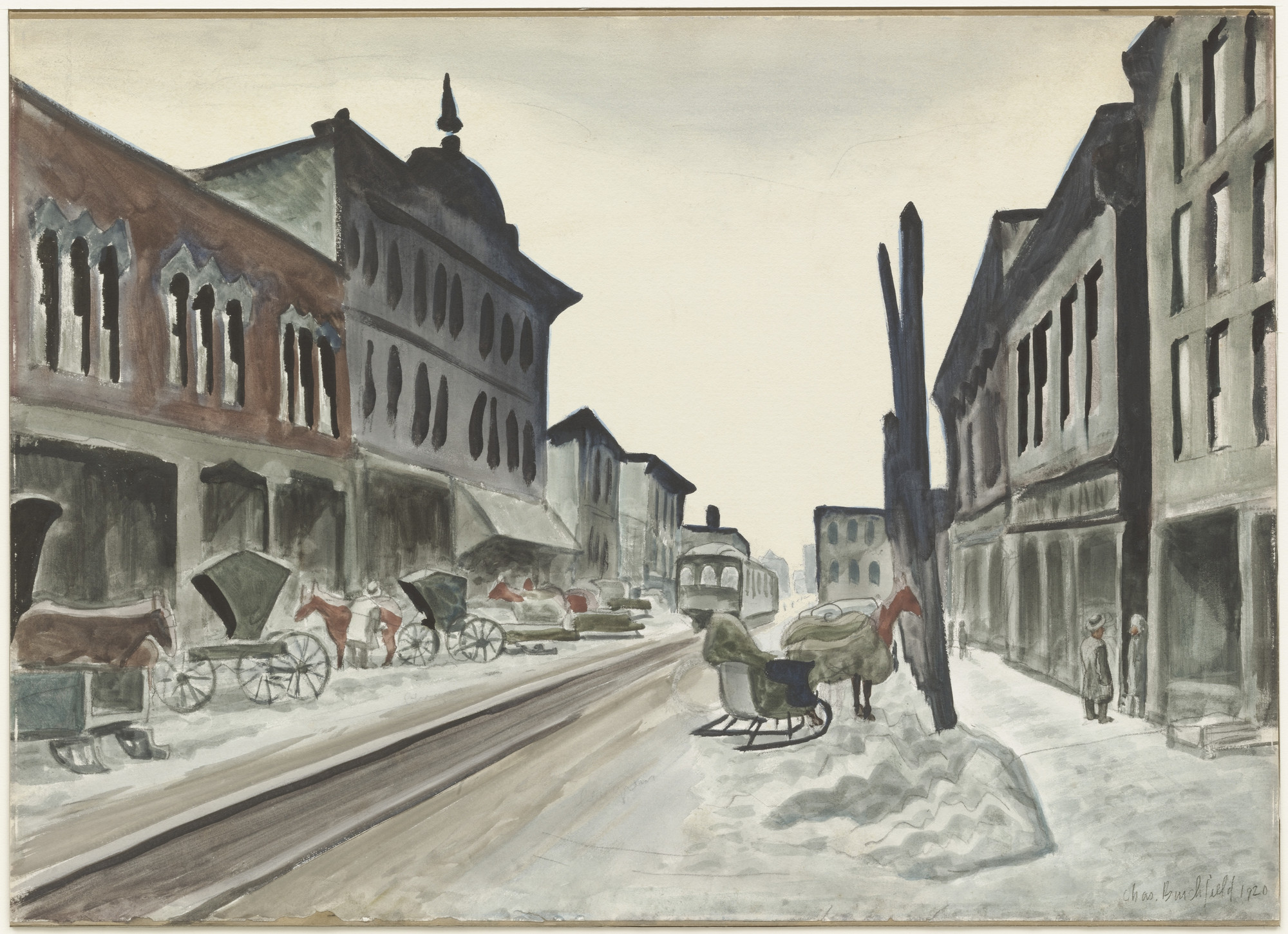 Charles Burchfield. The Interurban Line. 1920