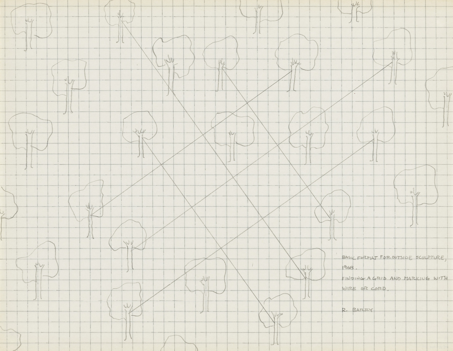 Robert Barry. Basic Format for Outside Sculpture (Finding a Grid and Marking with Wire or Cord). 1968
