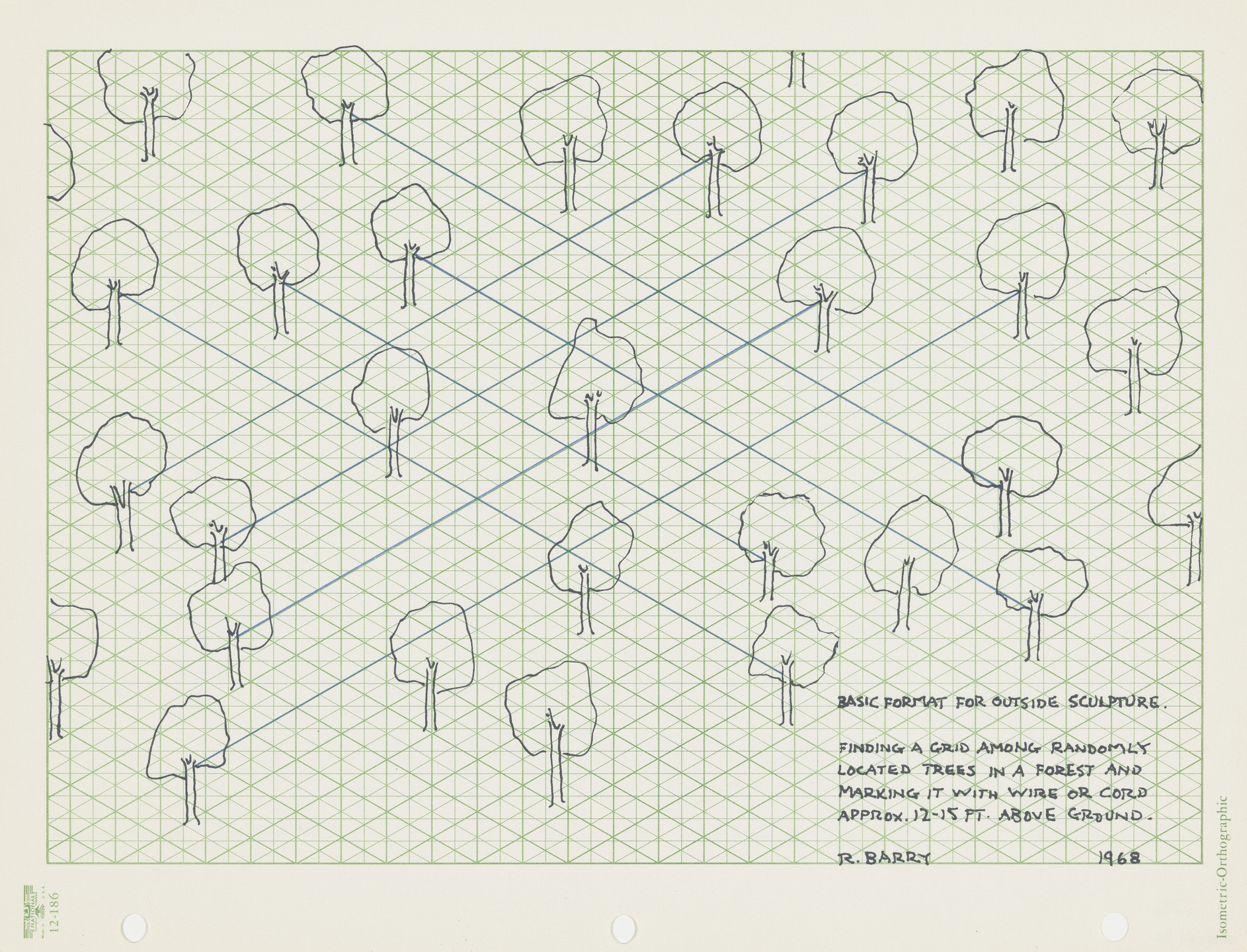 Robert Barry. Basic Format for Outside Sculpture (Finding a Grid among Randomly Located Trees...). 1968