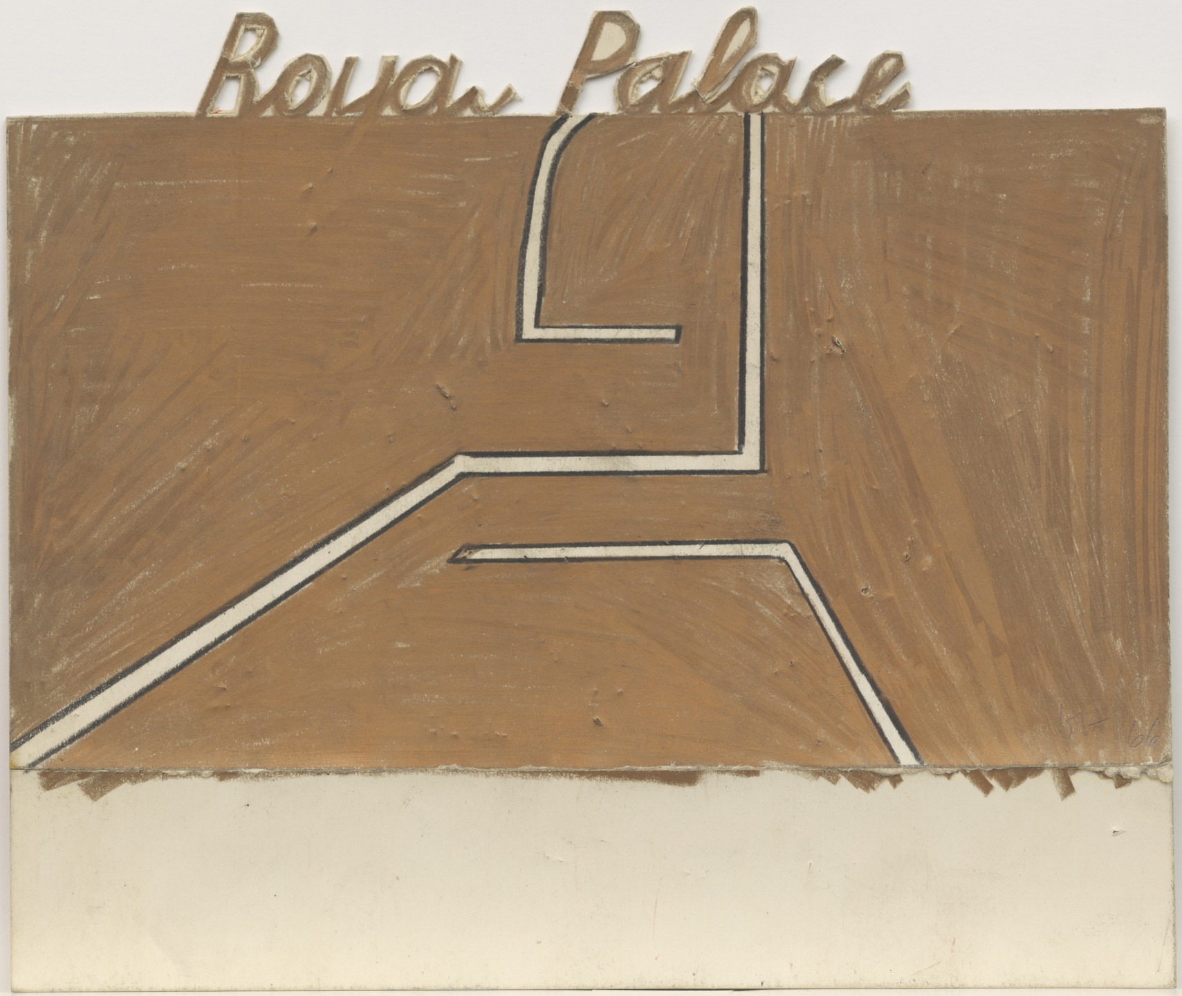 David Hockney. Royal Palace (b), design for Ubu Roi. (1966)