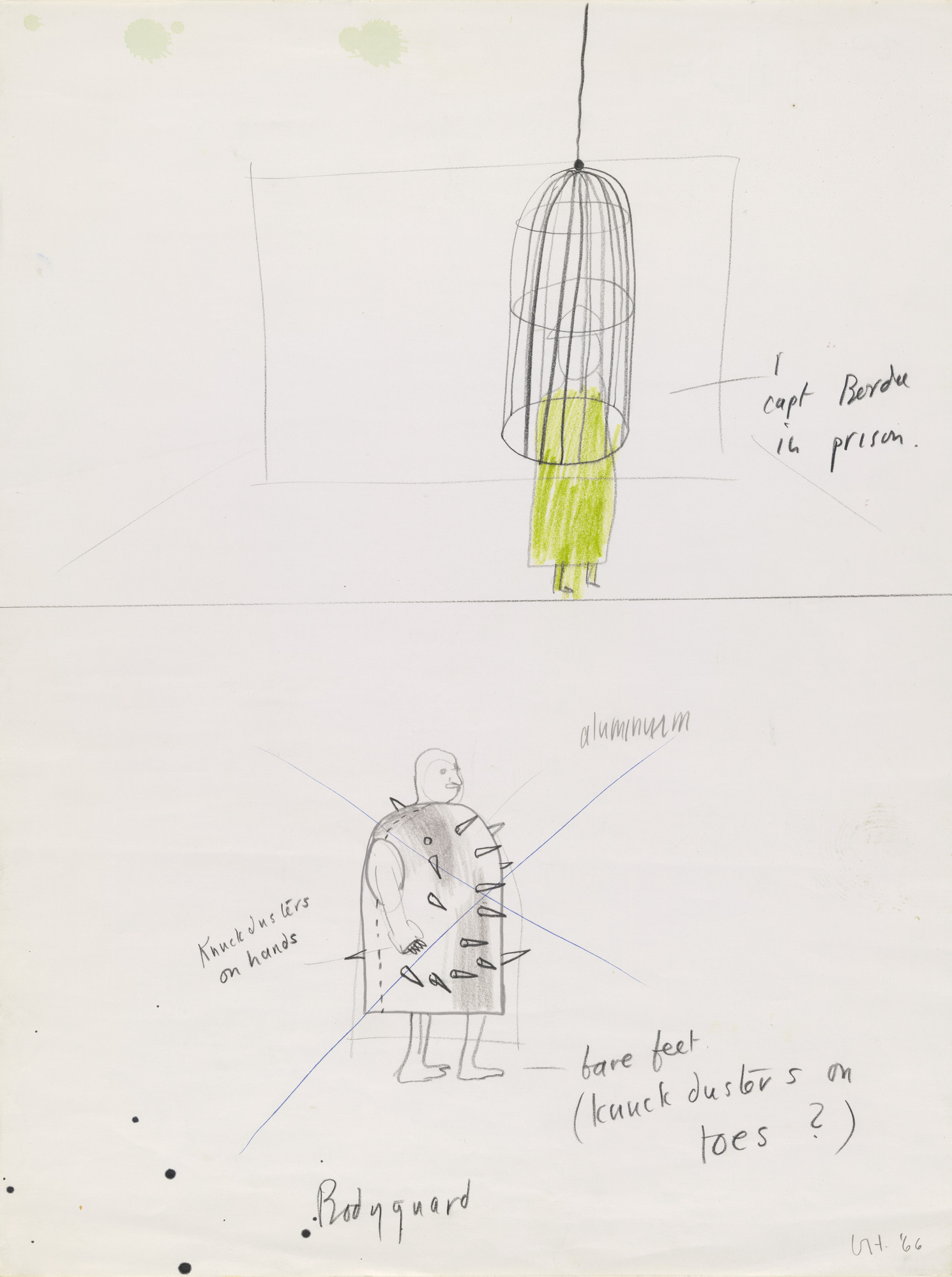 David Hockney. Captain Bordure in prison and Bodyguard (crossed out). Costume designs for the play Ubu Roi. 1966
