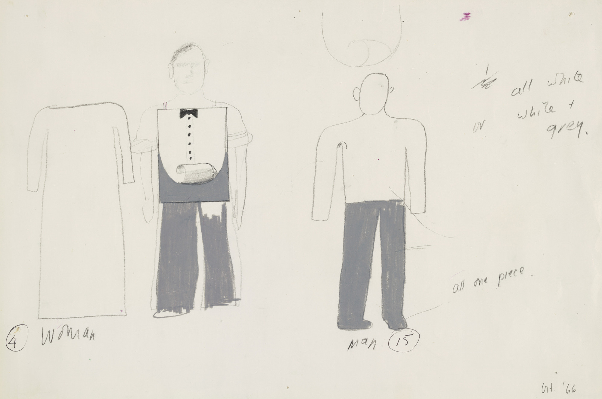 David Hockney. Woman, Man. Costume designs for the play Ubu Roi. 1966