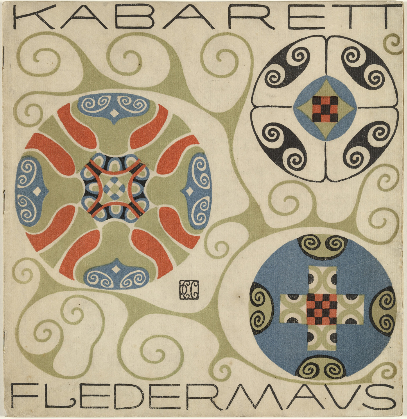 Carl Otto Czeschka. Front cover from the First Theater Program of Kabarett Fledermaus (Cabaret Fledermaus). 1907