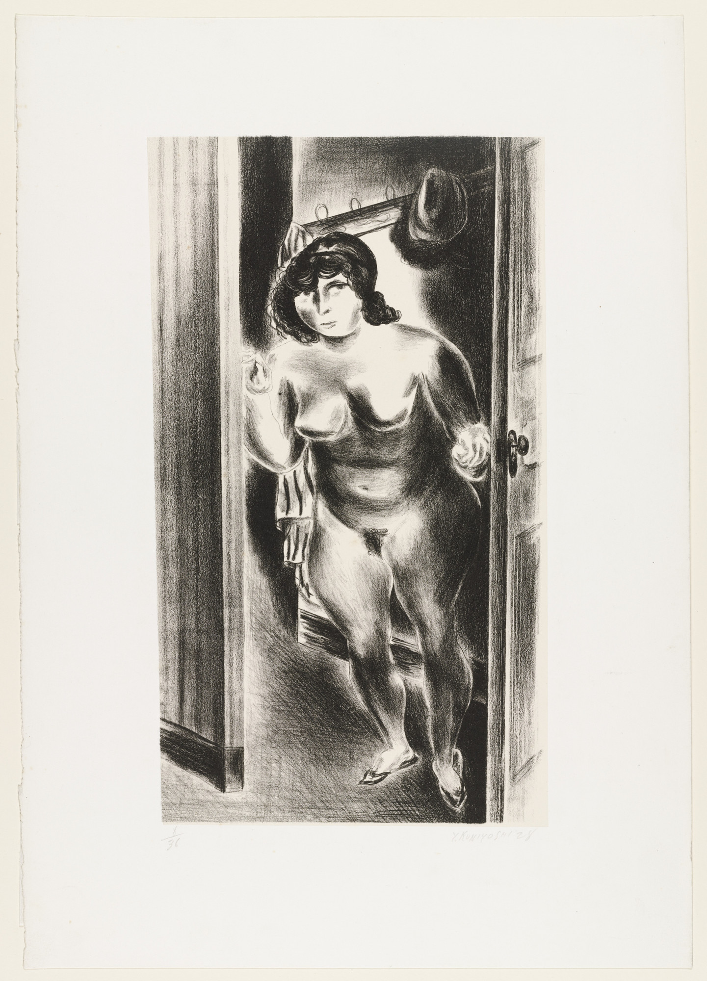 Yasuo Kuniyoshi. Nude at Door. 1928