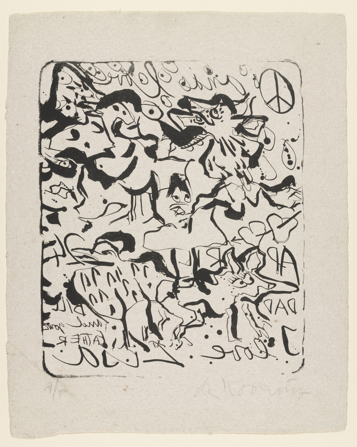 Willem de Kooning. Untitled (Peace Symbol and Animal Figures Also Known as I Love Lisa). 1970