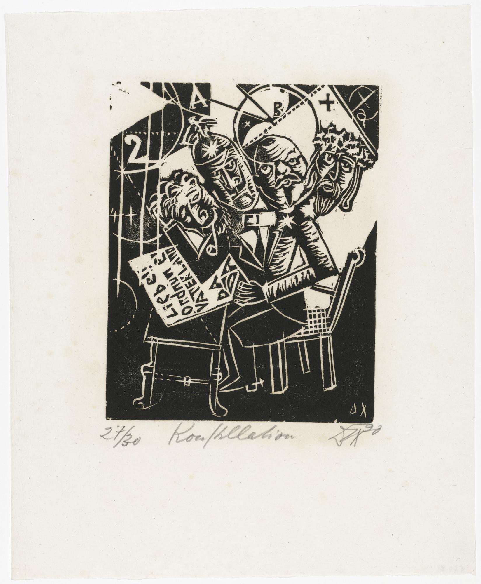 Otto Dix. The Celebrities (Constellation) [Die Prominenten (Konstellation)] from the portfolio Nine Woodcuts (Neun Holzschnitte). 1920 (published 1922)