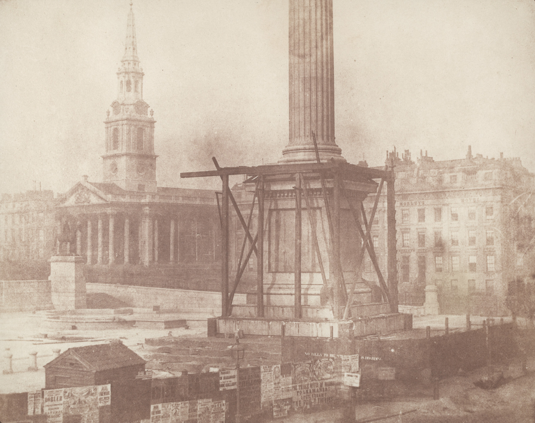 William Henry Fox Talbot. Trafalgar Square, London, during the Erection of the Nelson Column. c. 1844