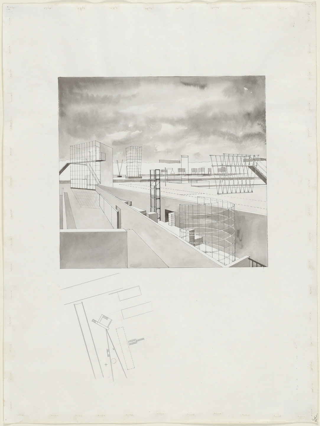 Steven Holl. Porta Vittoria, project, Milan, Italy, Garden of Sounds, perspective and plan. 1986