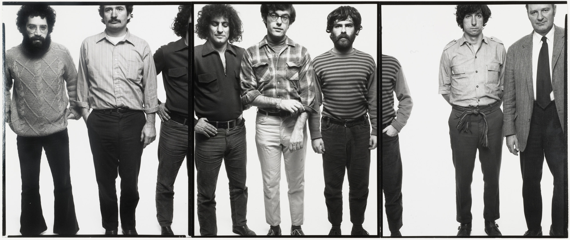 Richard Avedon. The Chicago Seven: Lee Weiner, John Fronies, Abbie Hoffman, Rennie Davis, Jerry Rubin, Tom Hayden, Dave Dellinger. Chicago. September 25, 1969