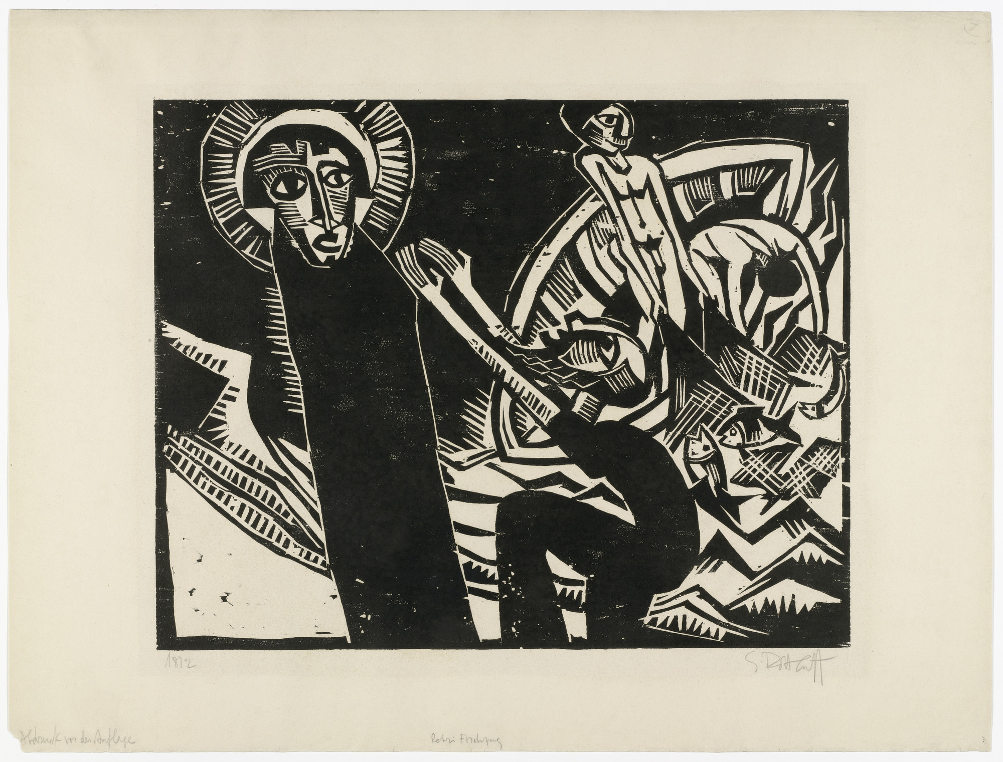 Karl Schmidt-Rottluff. The Miraculous Draught of Fishes (Petri Fischzug) from the portfolio 9 Woodcuts by Schmidt-Rottluff (9 Holzschnitte von Schmidt-Rottluff). 1918