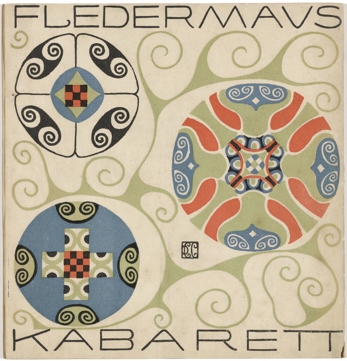 Carl Otto Czeschka. Back cover from the First Theater Program of Kabarett Fledermaus (Cabaret Fledermaus). 1907