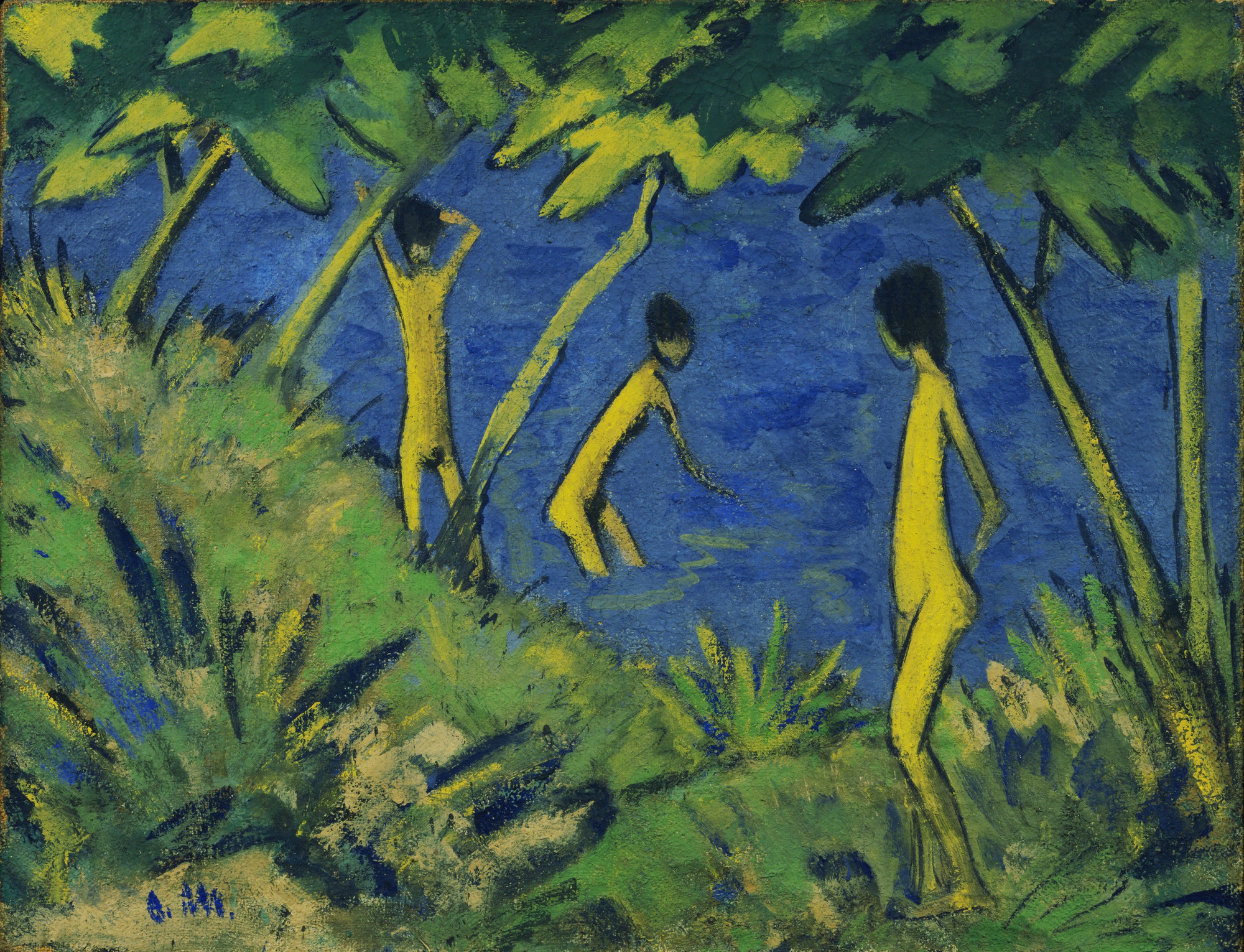 Otto Mueller. Landscape with Yellow Nudes. c. 1919