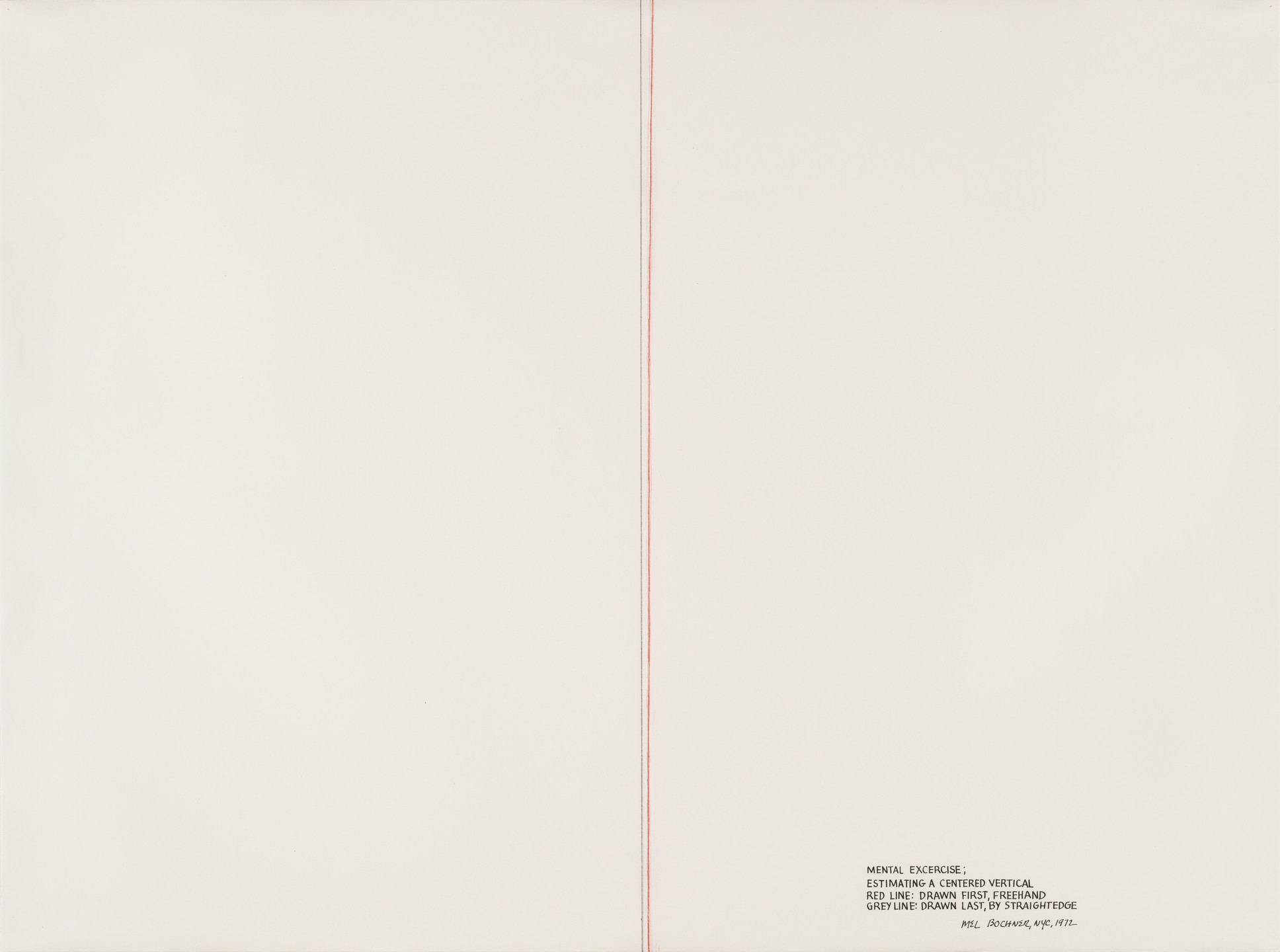 Mel Bochner. Mental Exercise: Estimating a Centered Vertical. 1972