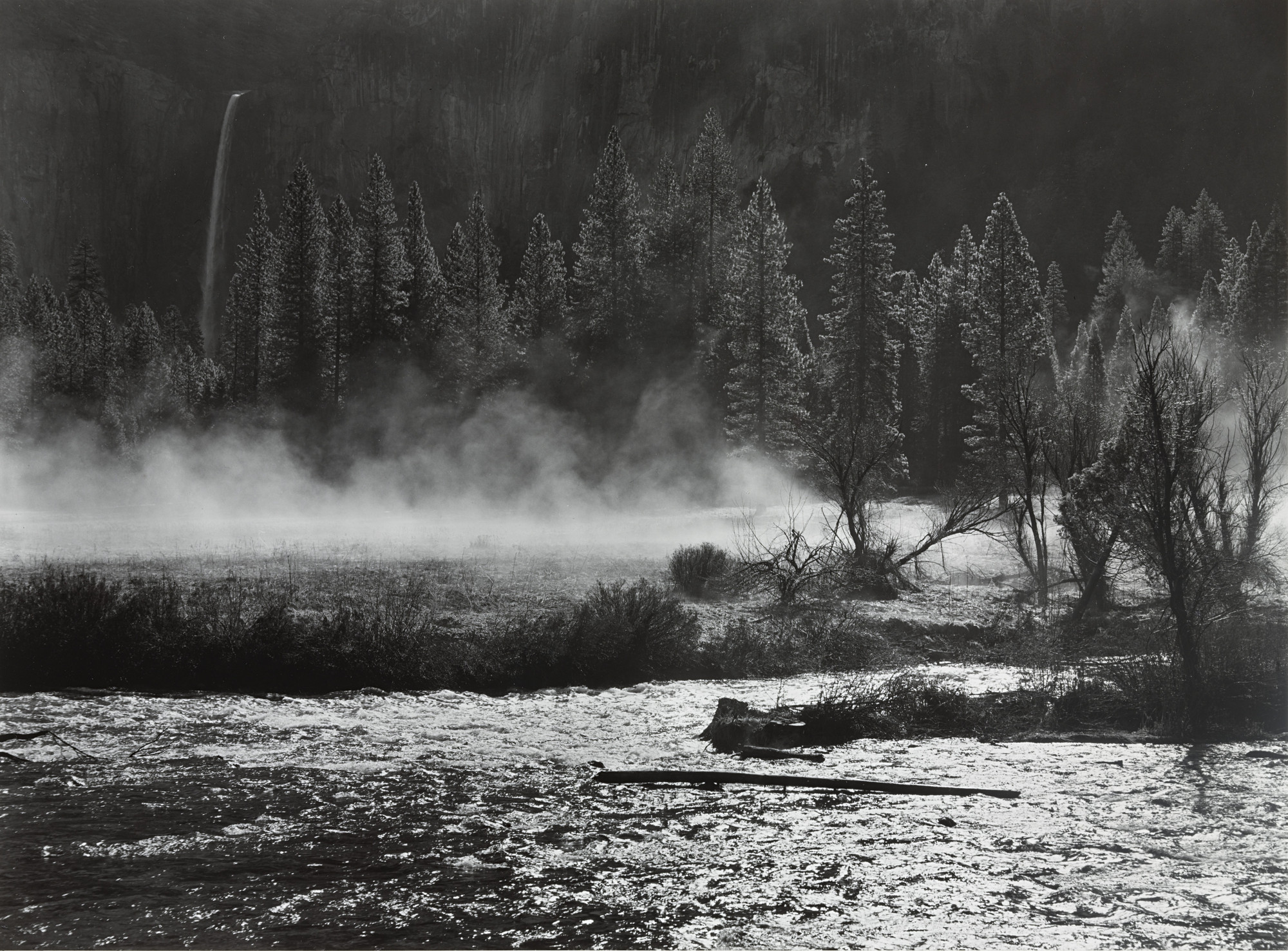 Ansel Adams. Morning Mist, Merced River and Bridalveil Fall, Yosemite Valley, California. c. 1945
