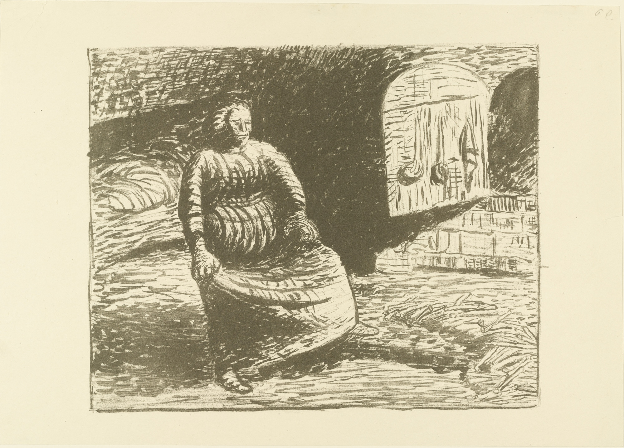 Ernst Barlach. The Woman at the Hearth (Die Frau am Herd) for the portfolio The Dead Day (Der tote Tag). (1910-11, published 1912)