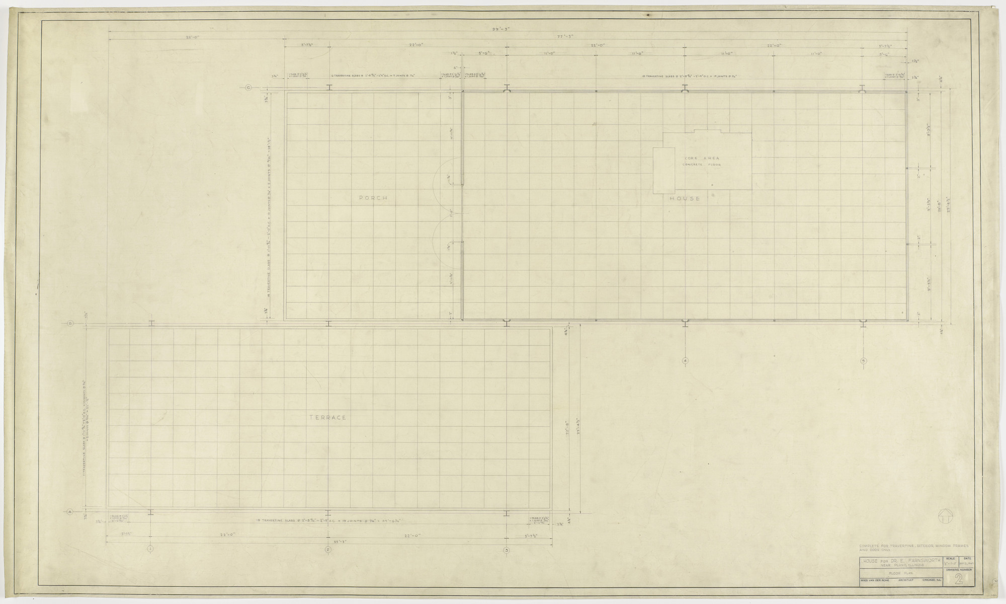 Ludwig Mies van der Rohe Farnsworth House Plano Illinois Floor