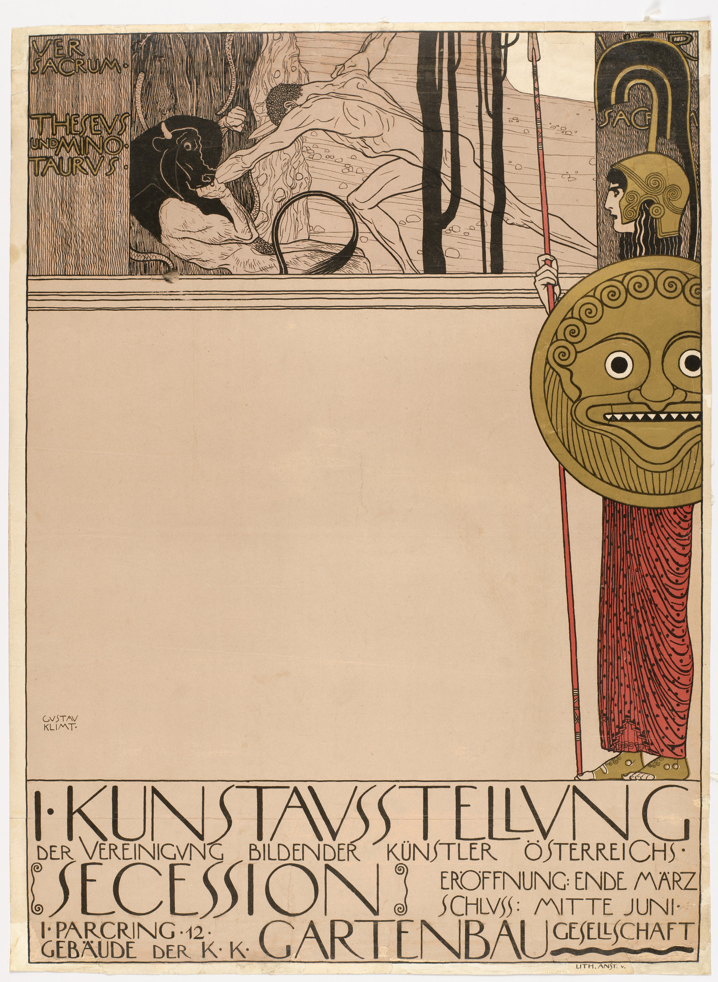 Gustav Klimt. Poster for the First Secession Exhibition (censored version) (1. Kunstausstellung Secession). 1898