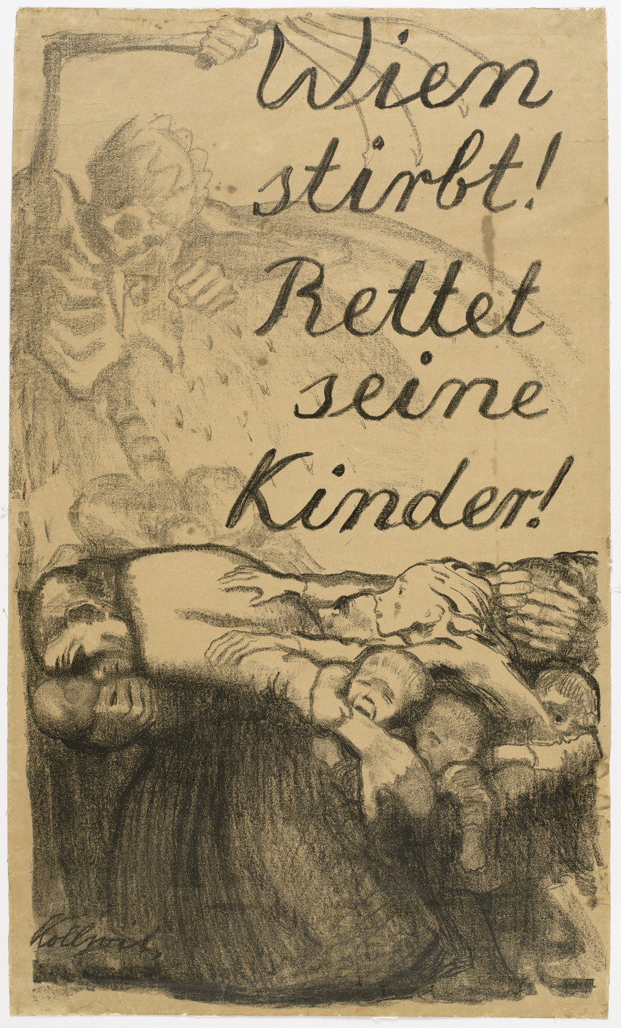 Käthe Kollwitz. Vienna Is Dying! Save Its Children! (Wien stirbt! Rettet seine Kinder!). 1920