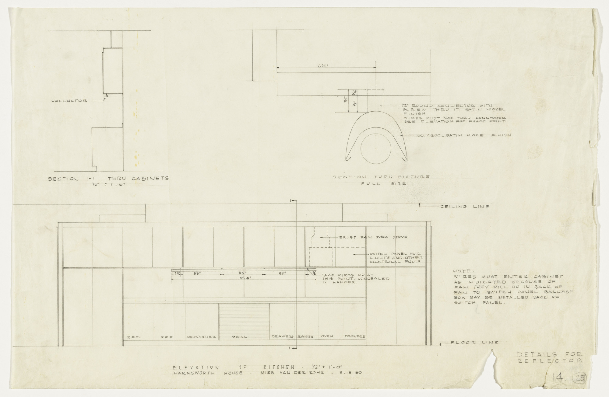 Ludwig Mies Van Der Rohe Farnsworth House Plano Illinois Elevation Of Kitchen And Sections 1950 Moma