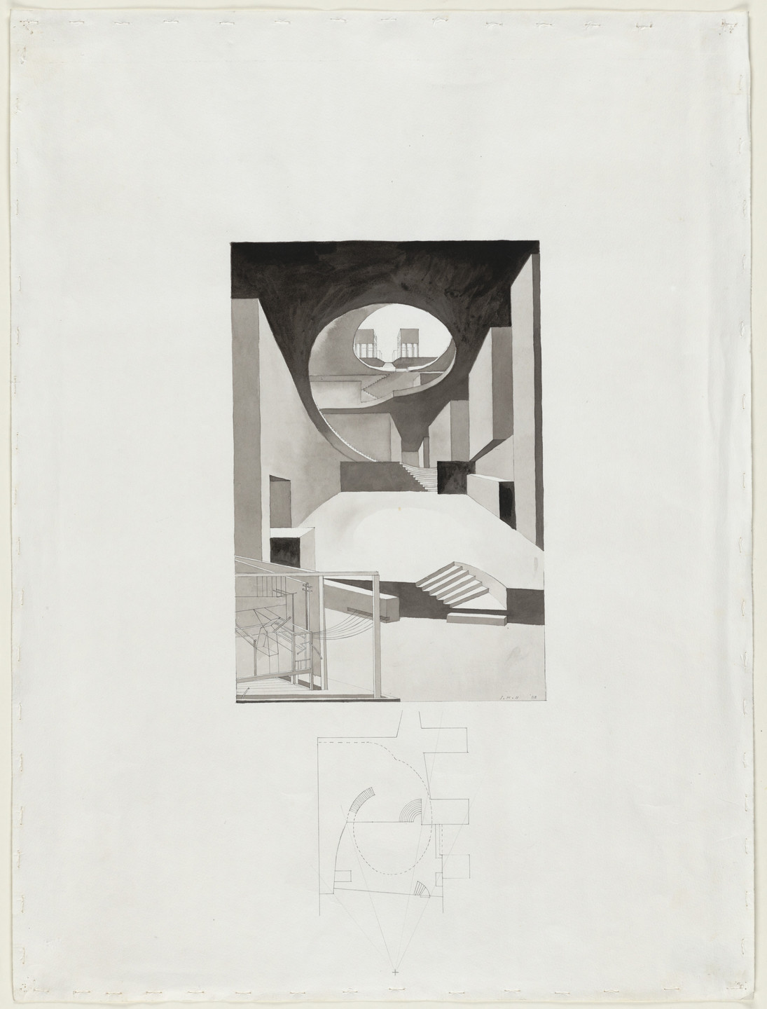 Steven Holl. Porta Vittoria, project, Milan, Italy, View at elliptical passage, perspective and plan. 1986