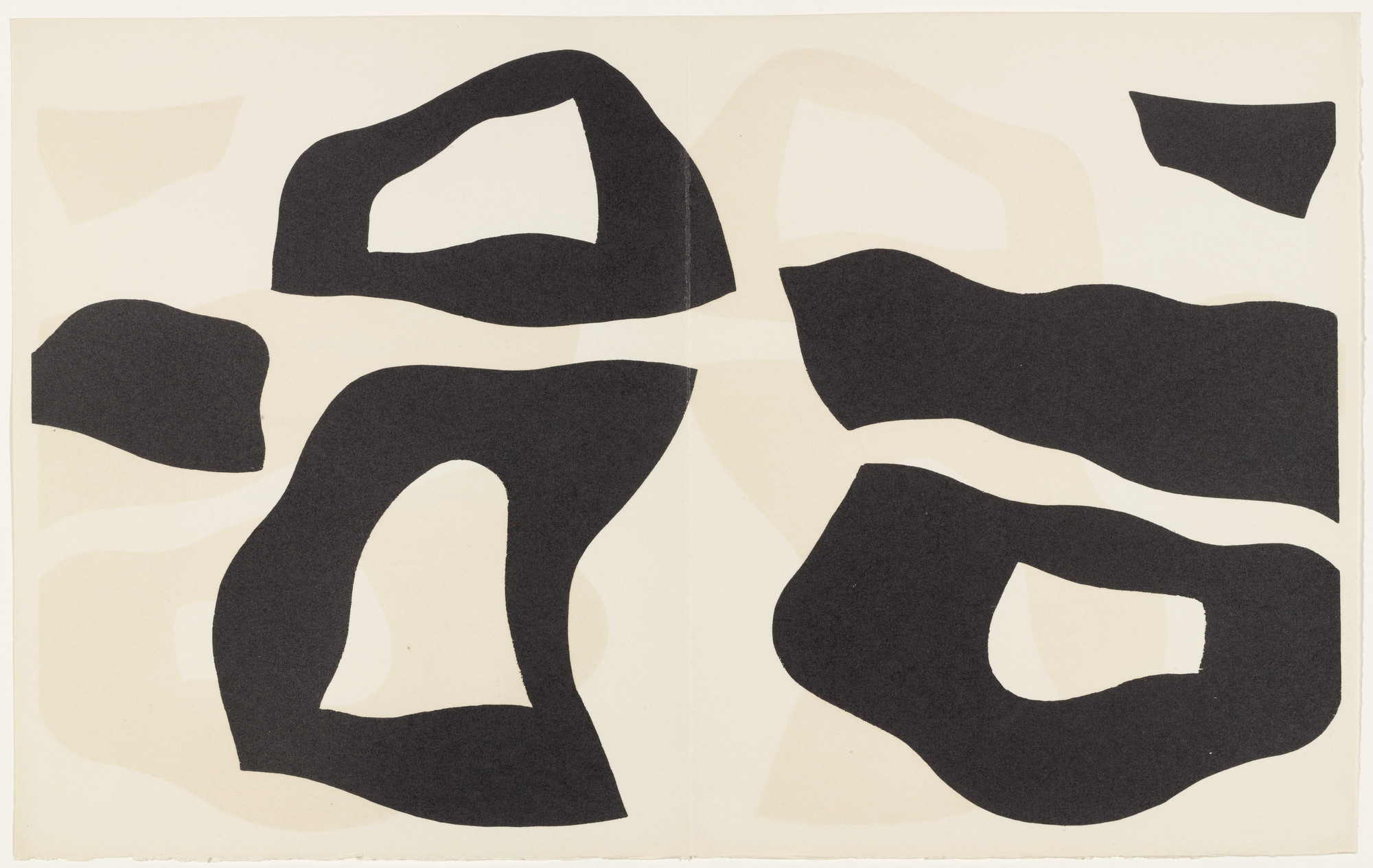 Jean (Hans) Arp. Placed According to the Laws of Chance (plate, pages 26–27) from Dreams and Projects. 1951–52, published 1952