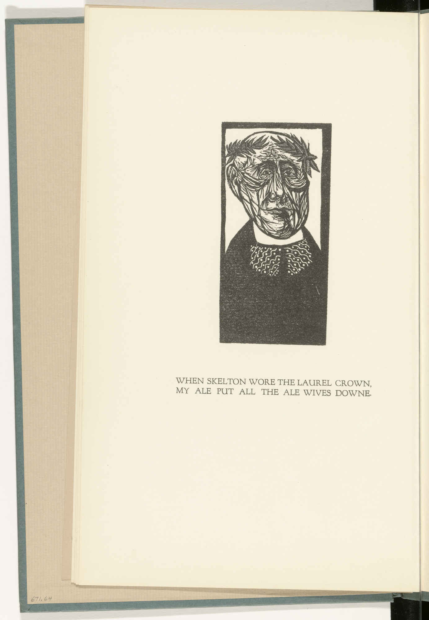 Leonard Baskin. Imaginary Portrait of John Skeleton (frontispiece) from The Tunning of Elynour Rummynge. 1953