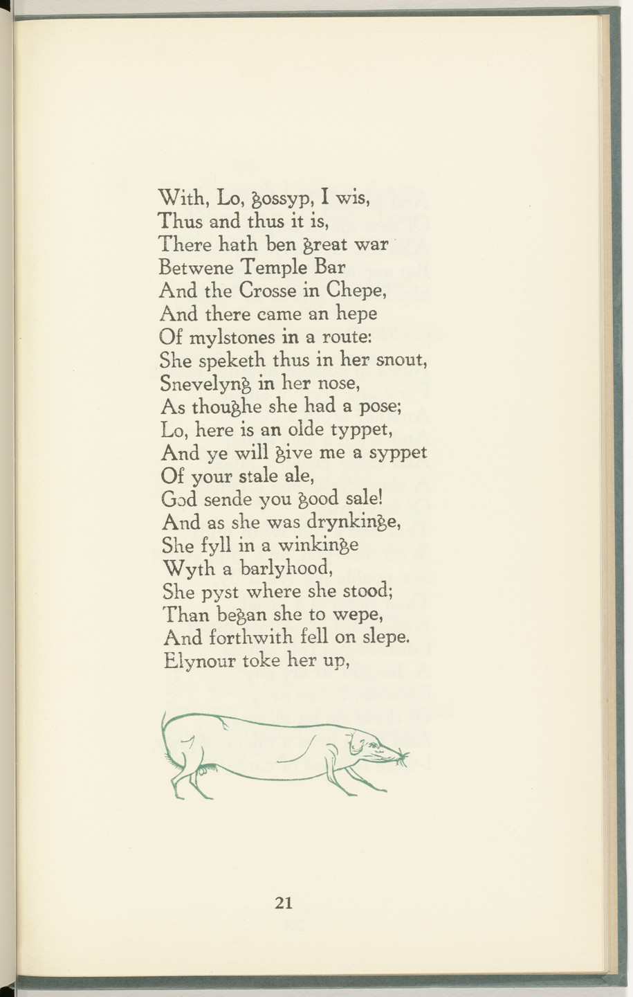 Leonard Baskin. Castle Street Dog (in-text plate, page 21) from The Tunning of Elynour Rummynge. 1952, published 1953