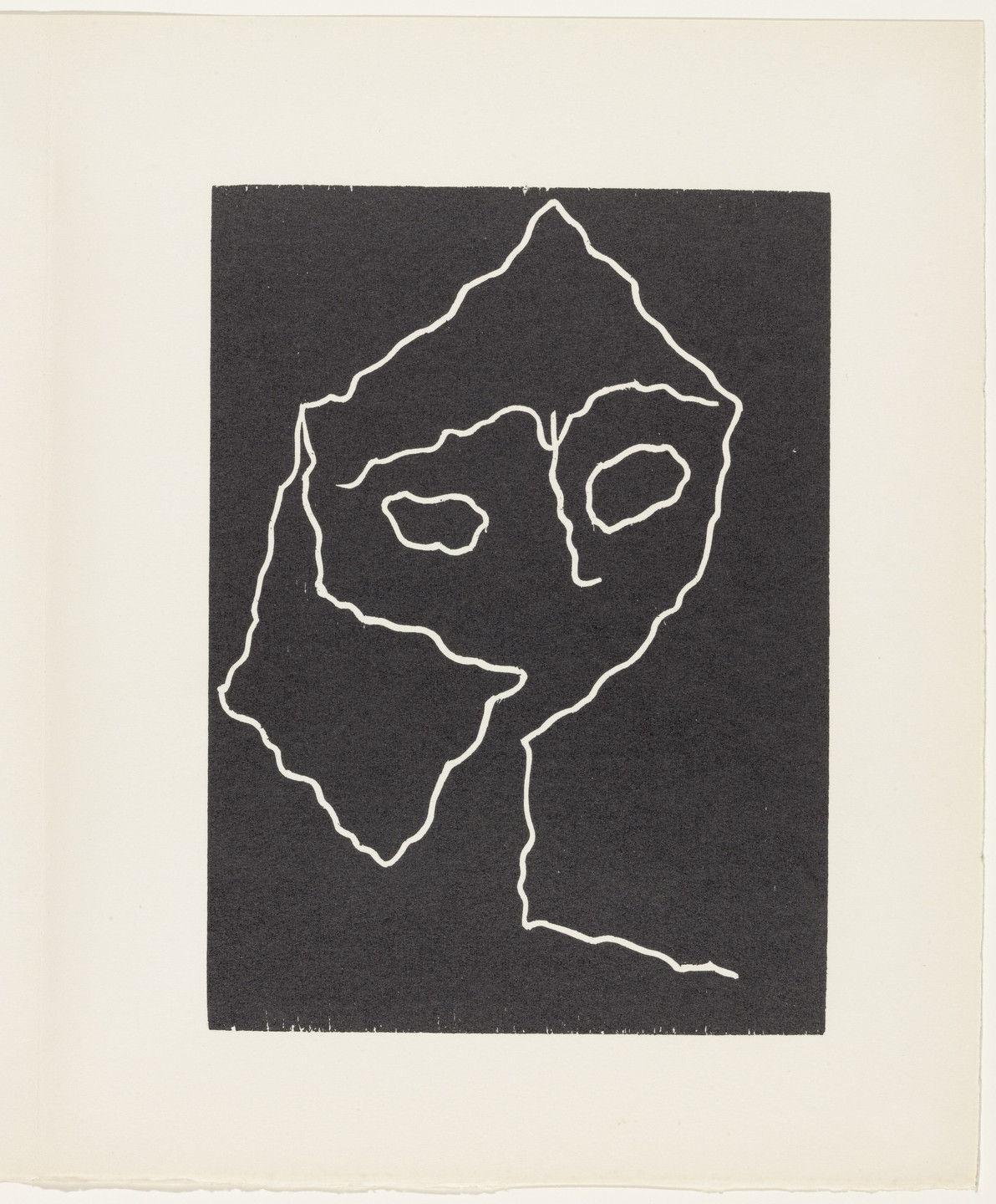 Jean (Hans) Arp. Head with Seismic Line (plate, page 115) from Dreams and Projects. 1951–52, published 1952