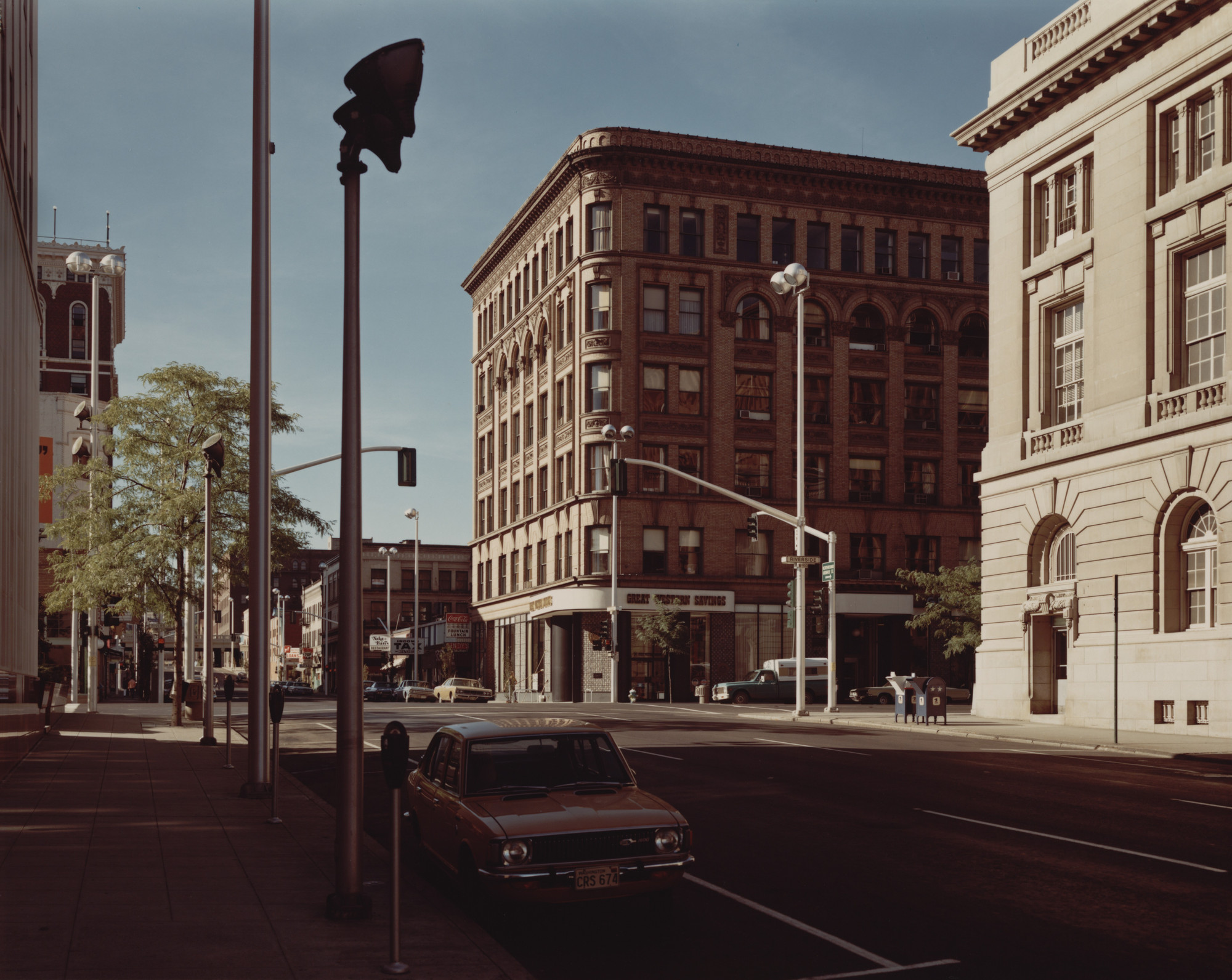Stephen Shore. Lincoln Street and Riverside Street, Spokane, Washington, August 25, 1974. 1974