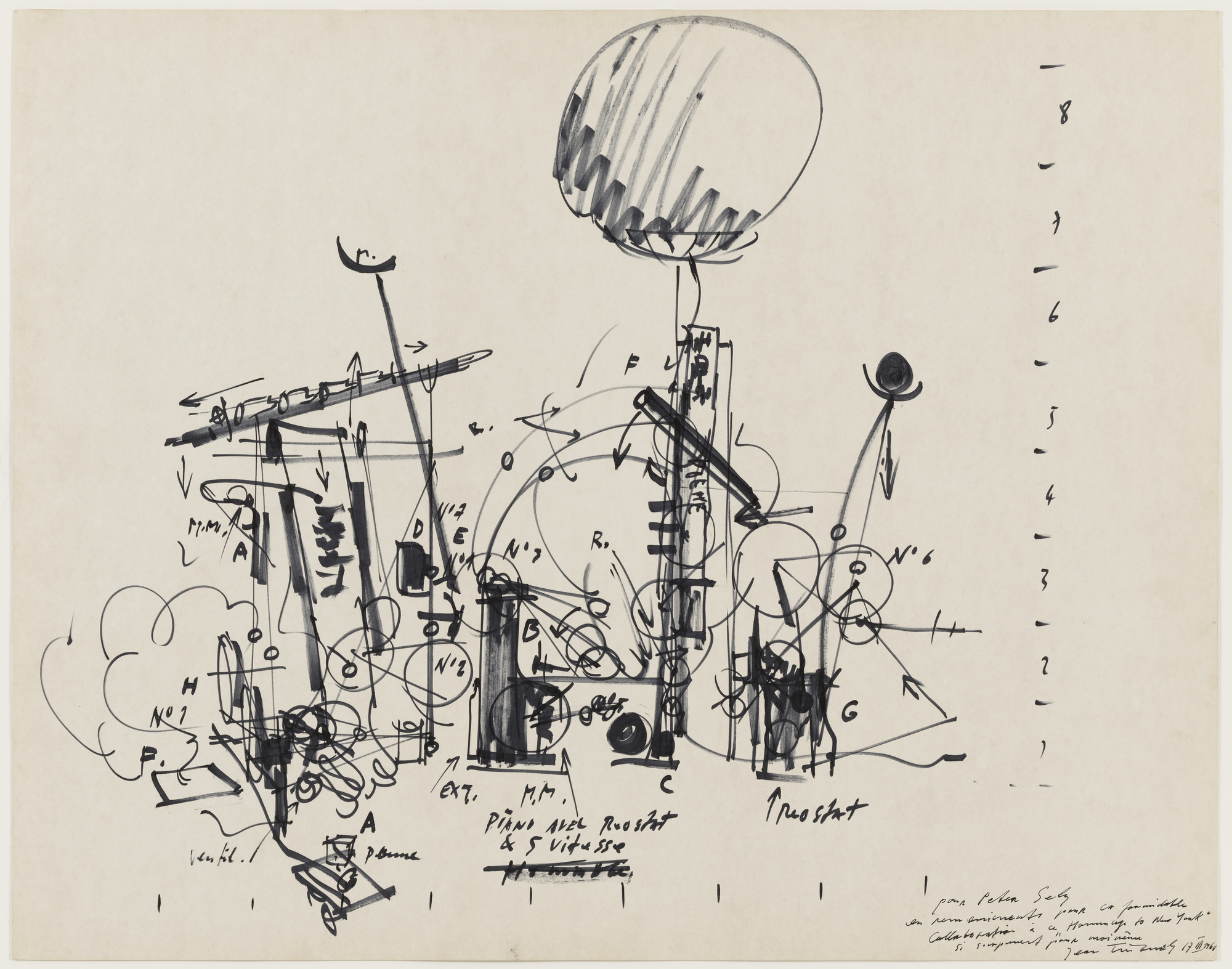 Jean Tinguely. Sketch for Homage to New York. 1960