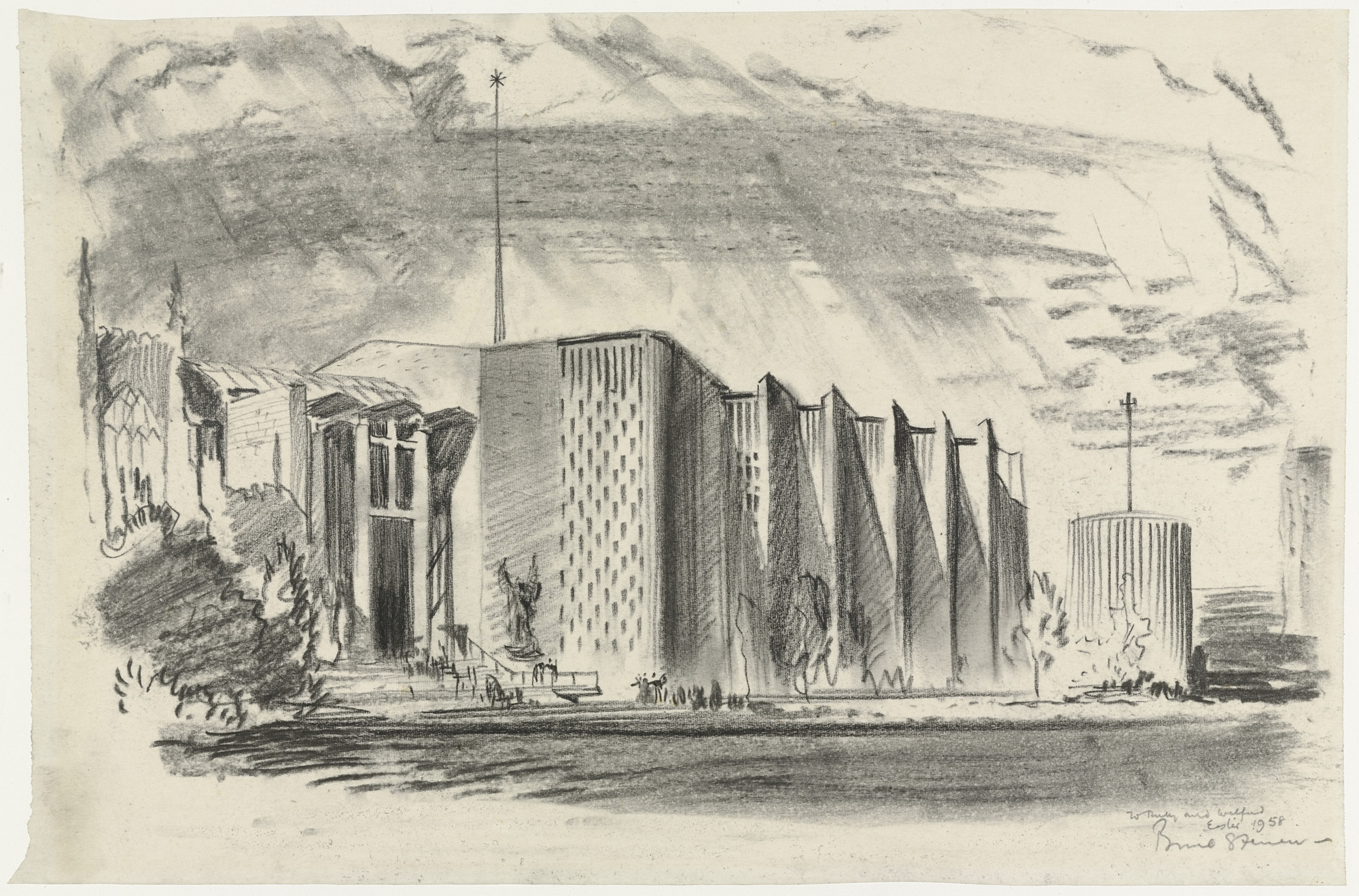 Basil Spence. Coventry Cathedral, Coventry, England, Perspective sketch. 1958