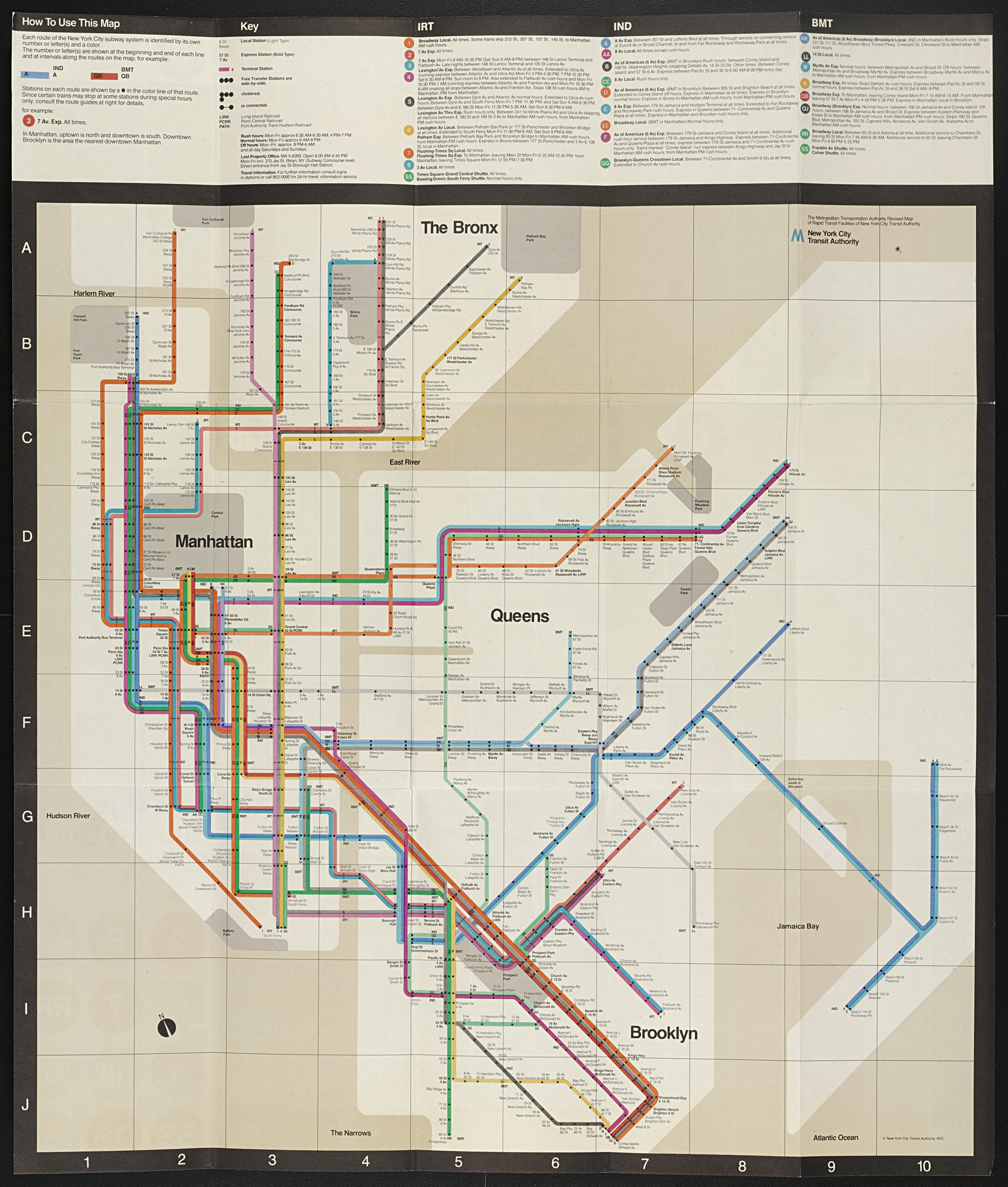 Massimo Vignelli, Joan Charysyn, Bob Noorda, Unimark International Corporation, New York. New York City Subway Guide. 1970–1972