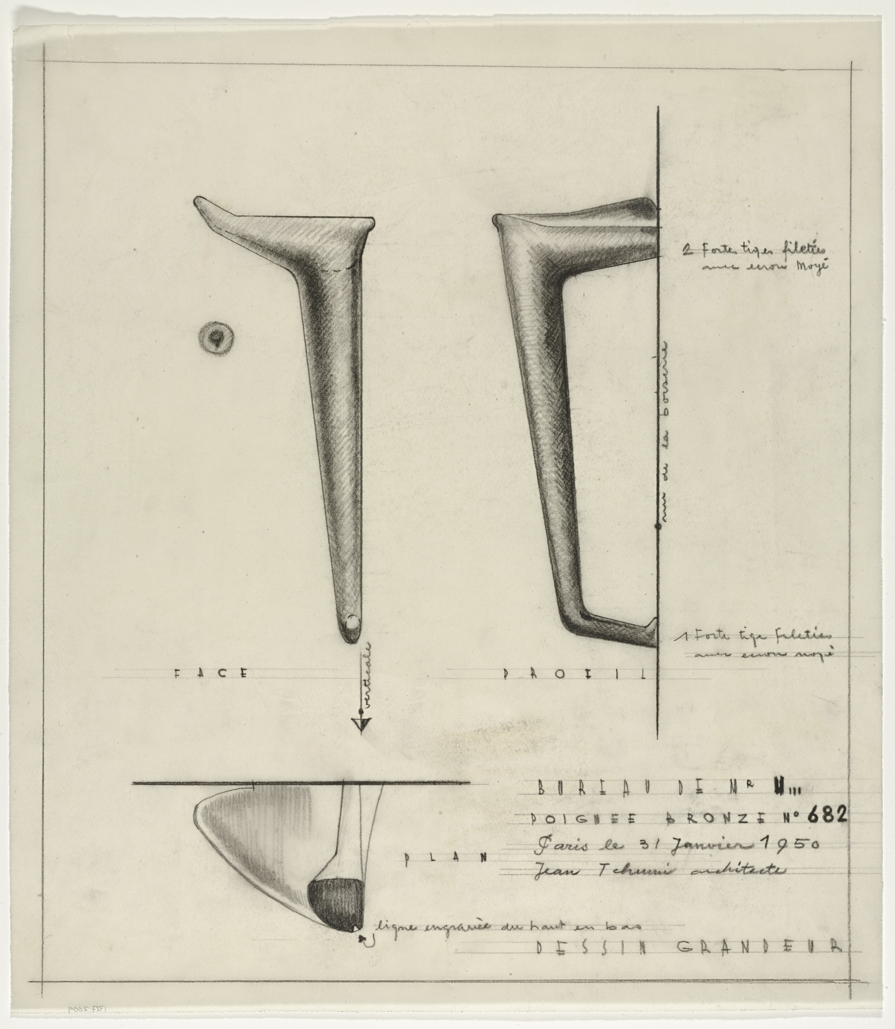 Jean Tschumi. Door handle sketches. c.1940-1955