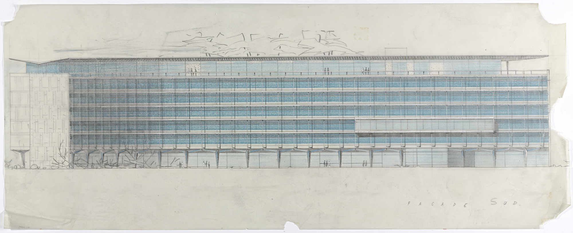 Jean Tschumi. Nestle Headquarters, Vevey, Switzerland, South facade, perspective. 1956-1957