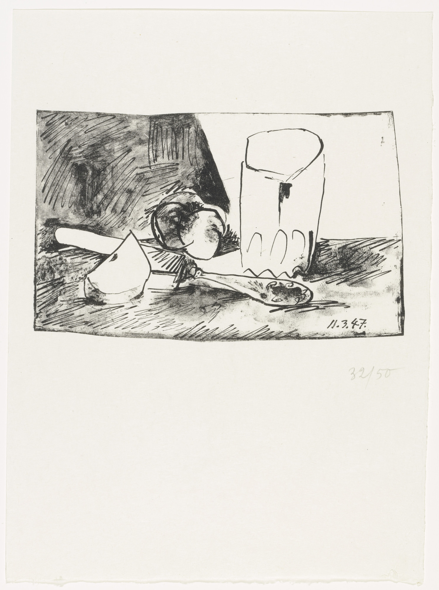 Pablo Picasso. Apples, Glass, and Knife (supplementary suite, plate 4) from Dans l'Atelier de Picasso. (Print executed 1947)