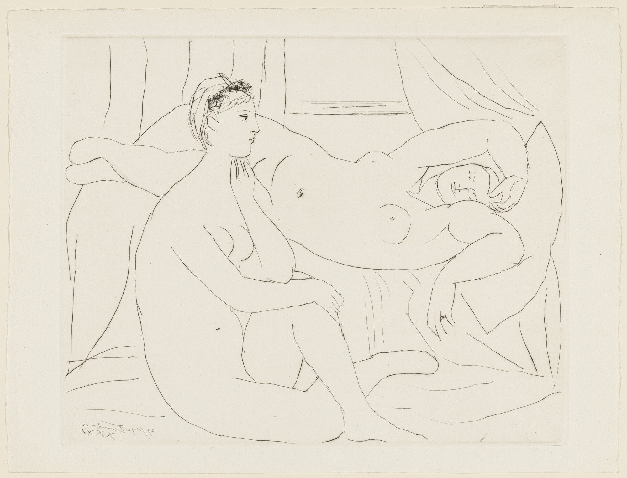 Pablo Picasso. Two Women at Rest (Deux femmes se reposant) from the Vollard Suite (Suite Vollard). 1931, published 1939