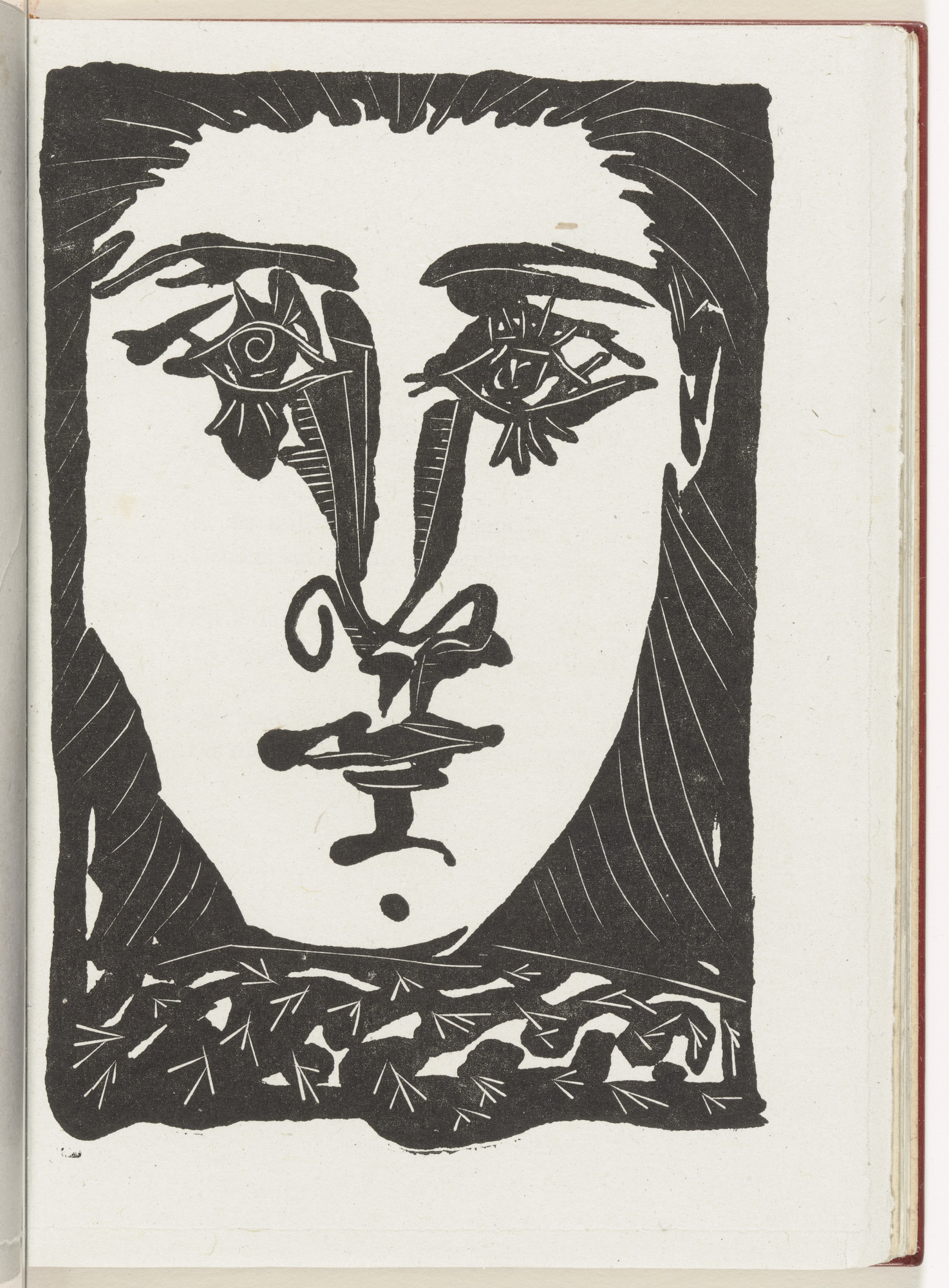 Pablo Picasso. Head (plate, page 21) from the illustrated book Non Vouloir. 1942