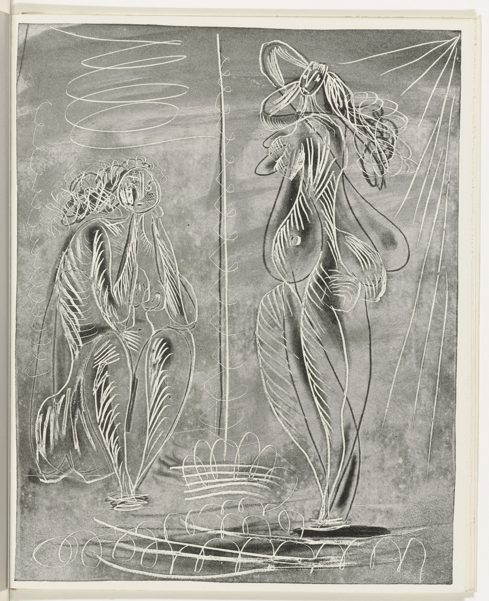 Pablo Picasso. Two Women (plate, folio 29) from the illustrated book La Chèvre-Feuille. 1943