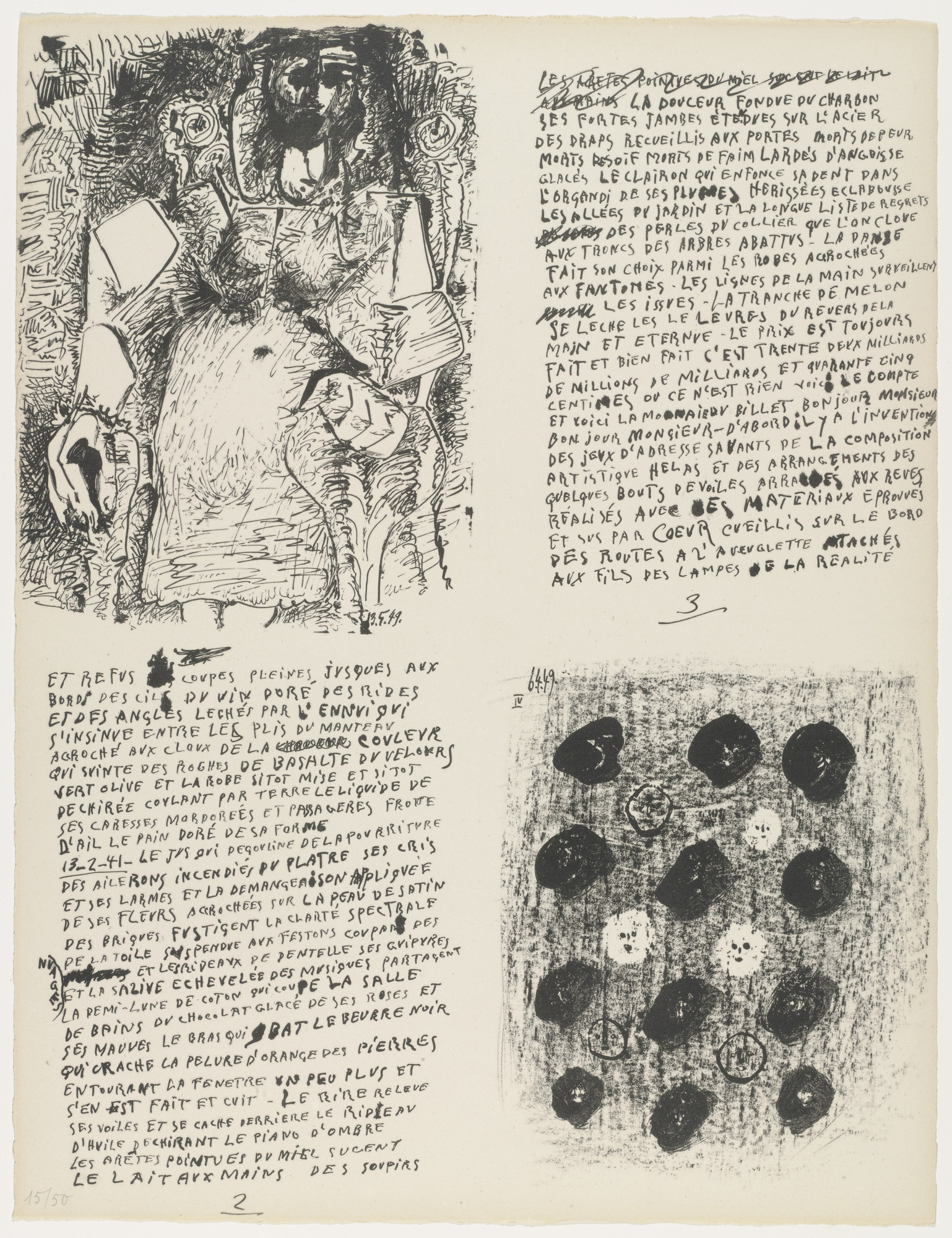 Pablo Picasso. In-text plates (folio 2) from Poèmes et lithographies. 1949, published 1954