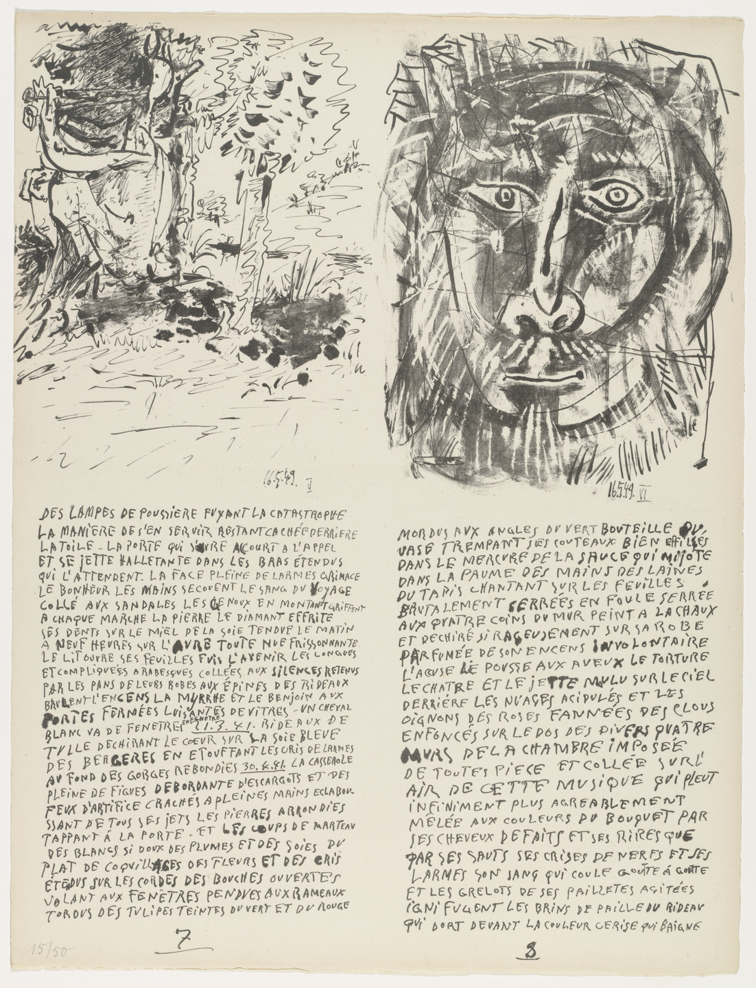 Pablo Picasso. In-text plates (folio 5) from Poèmes et lithographies. 1949, published 1954