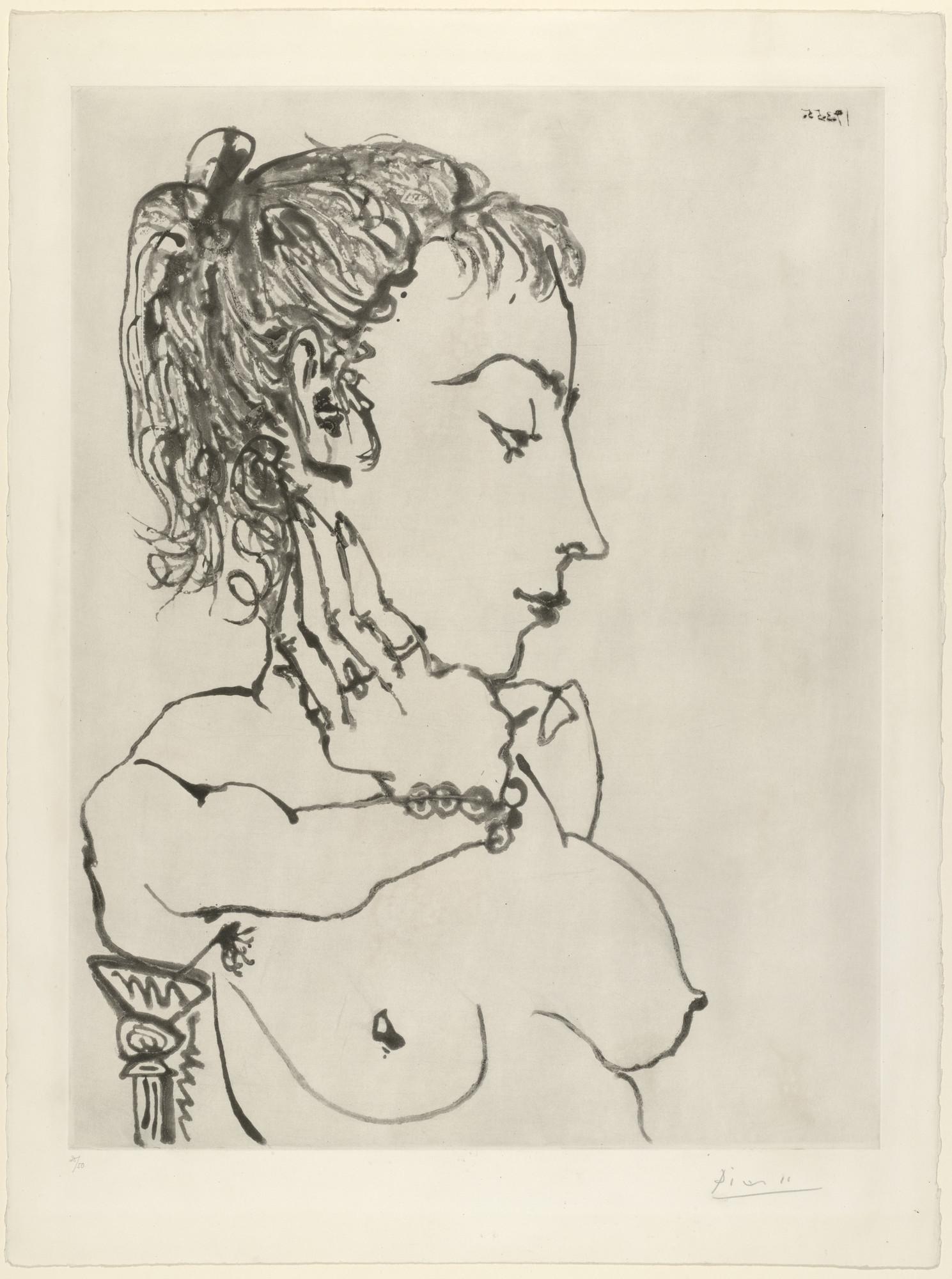 Pablo Picasso. Bust of a Woman with Ponytail: Jacqueline (Buste de ...