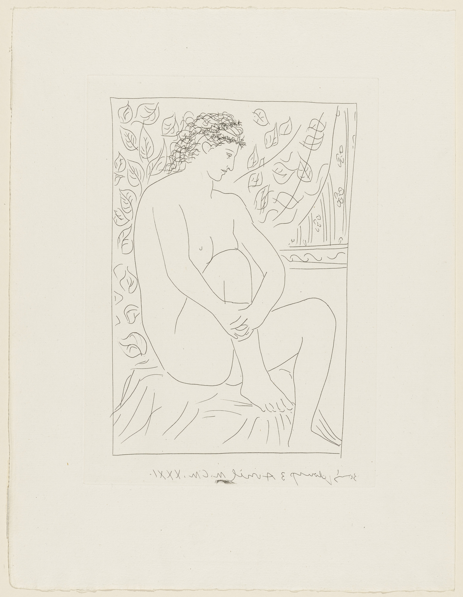 Pablo Picasso. Nude Woman Seated Before a Curtain (Femme nue assise devant un rideau) from the Vollard Suite (Suite Vollard). 1931, published 1939