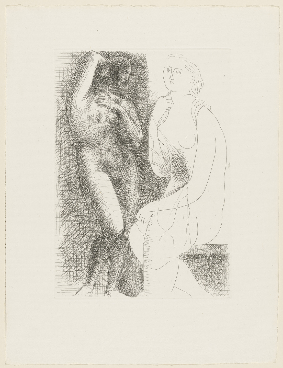 Pablo Picasso. Nude Woman Before a Statue (Femme nue devant une statue) from the Vollard Suite (Suite Vollard). 1931, published 1939