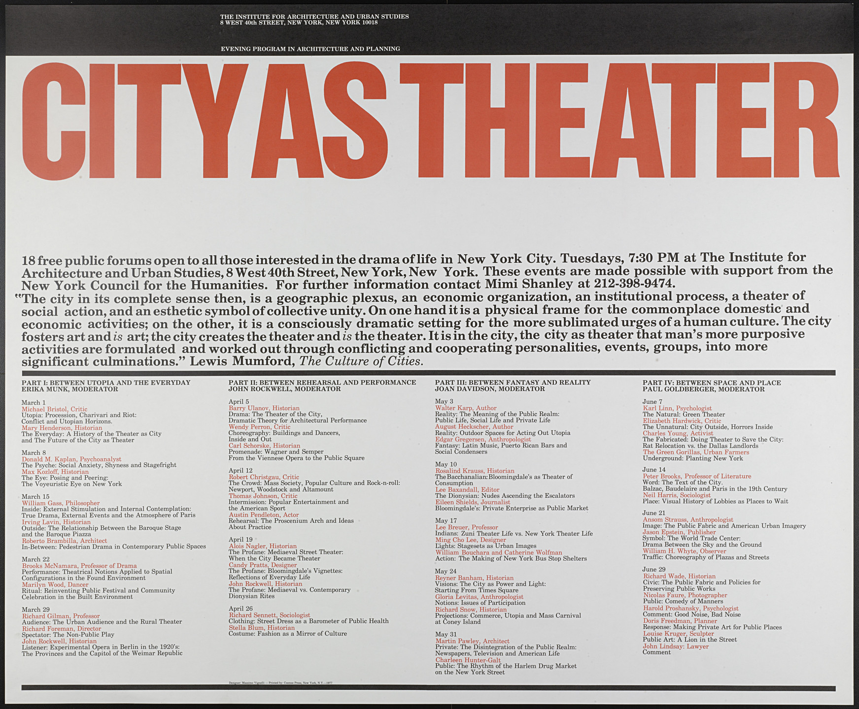 Massimo Vignelli, Lella Vignelli. City As Theater (IAUS). 1977